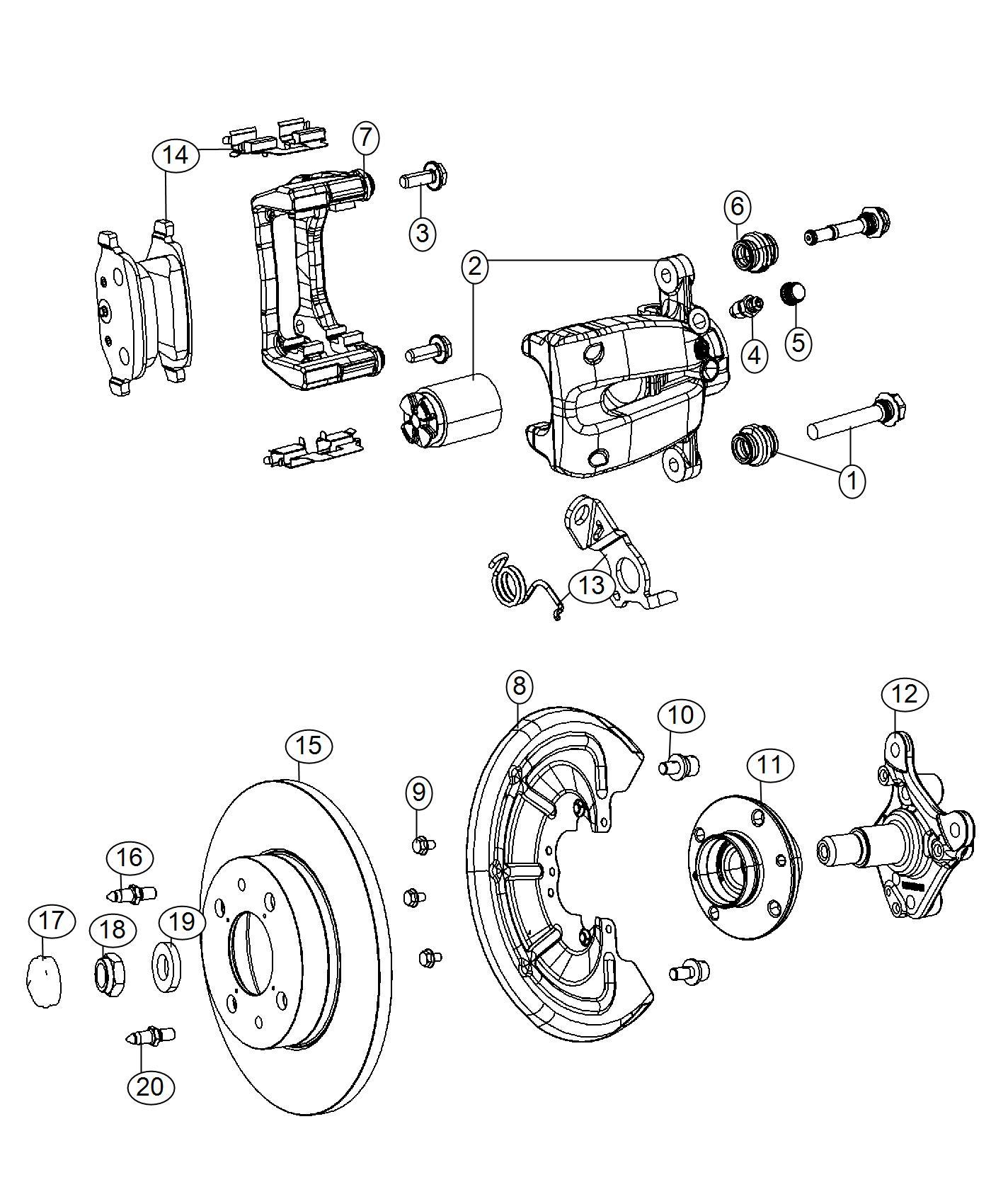 2016 Fiat 500 Pad kit. Rear disc brake. Brakes, abs, whl