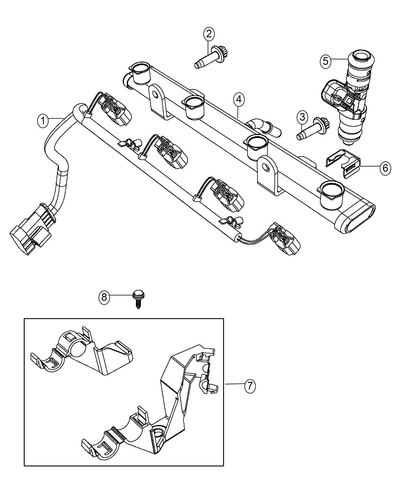 Fiat 500 Wiring. Fuel rail, injector. Turbo, engine