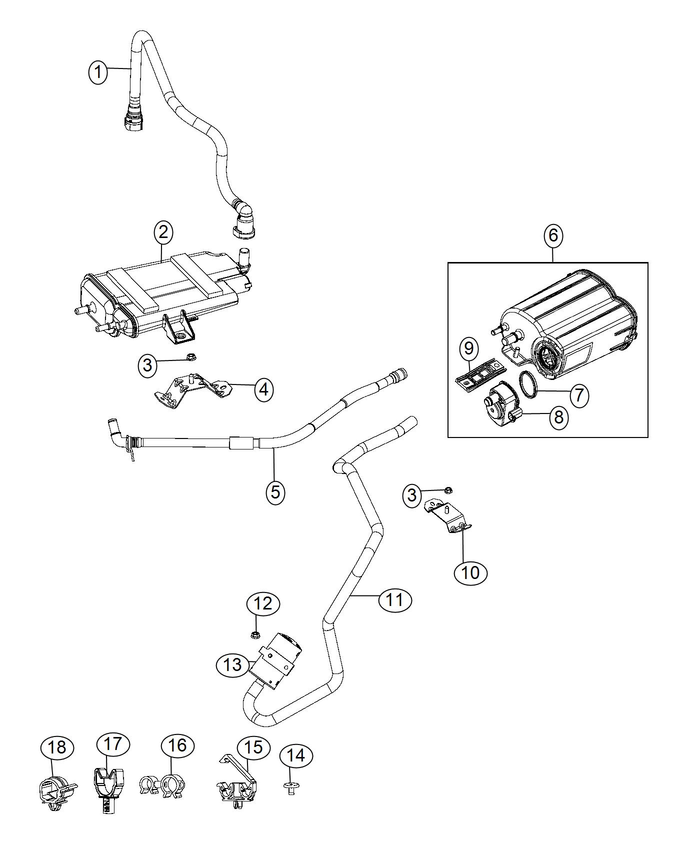 Fiat 500 Canister. Vapor. Pump, leak, detection, vacuum