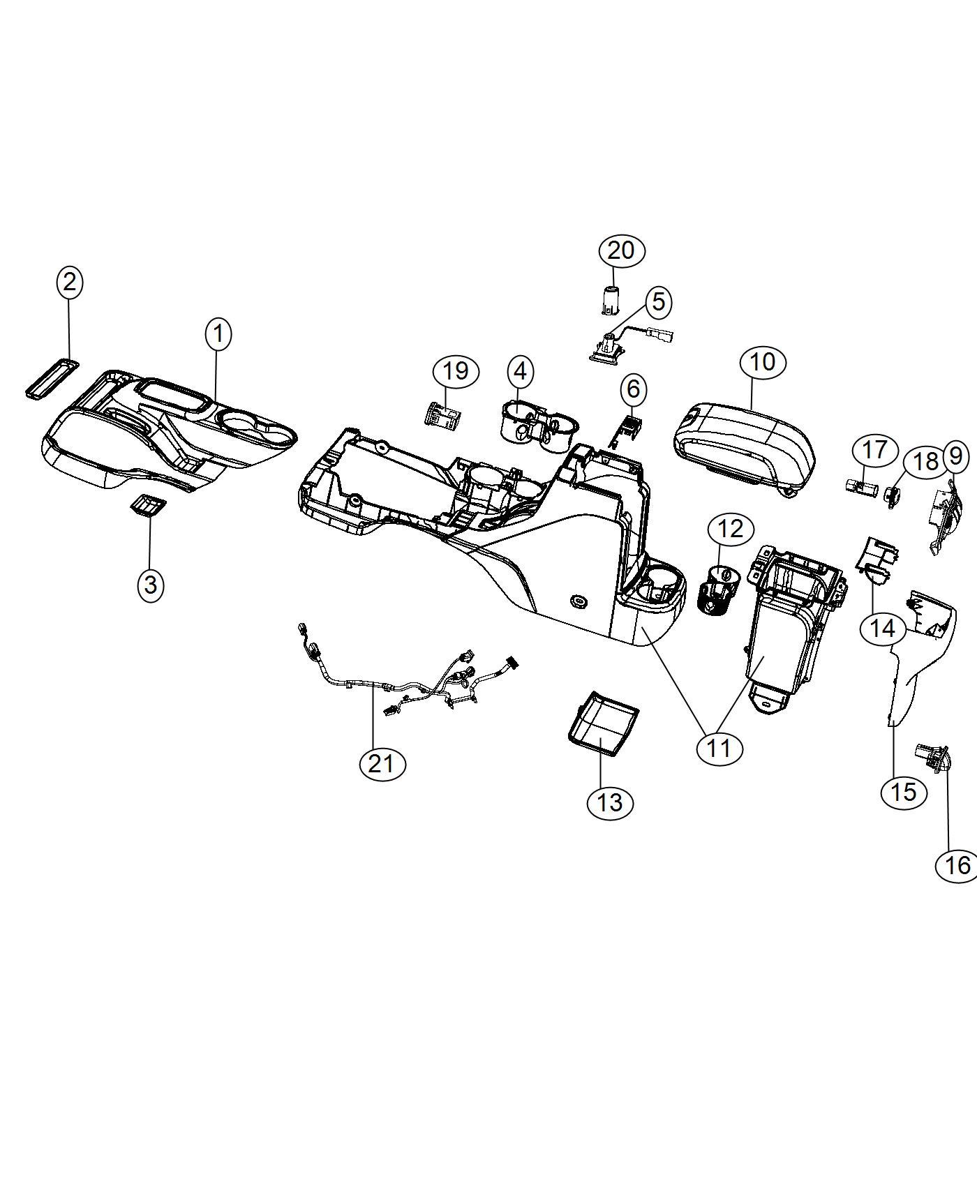 2015 Jeep Wrangler Lid. Center console storage. Trim: (*o0