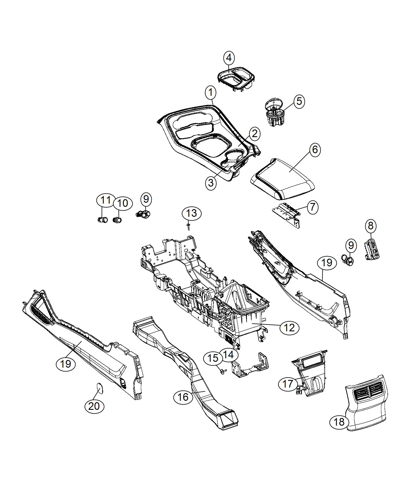 Dodge Challenger Panel. Floor console. Trim: [no