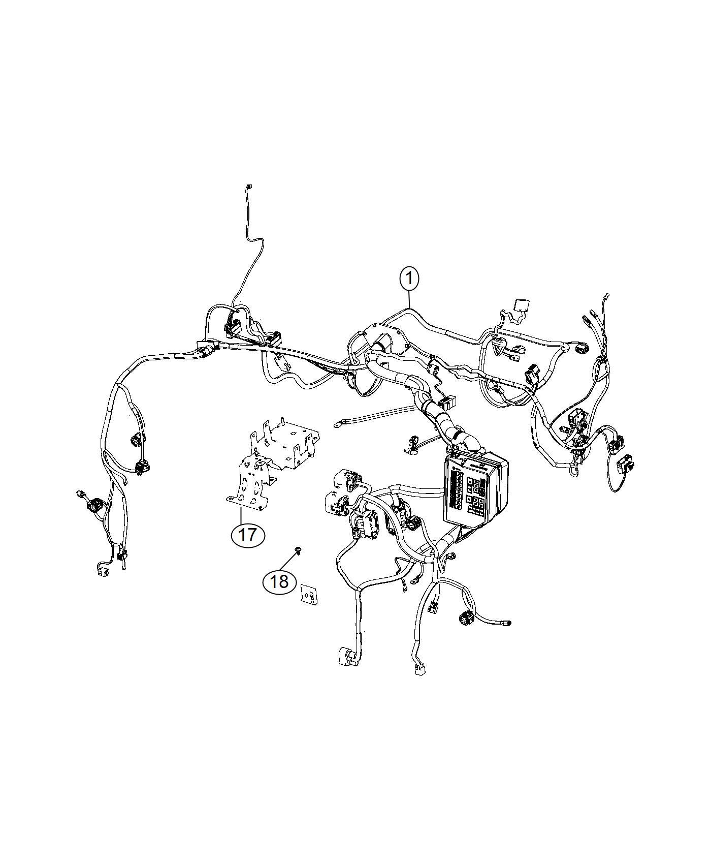 Fiat 500E Wiring. Headlamp to dash. Mopar, group