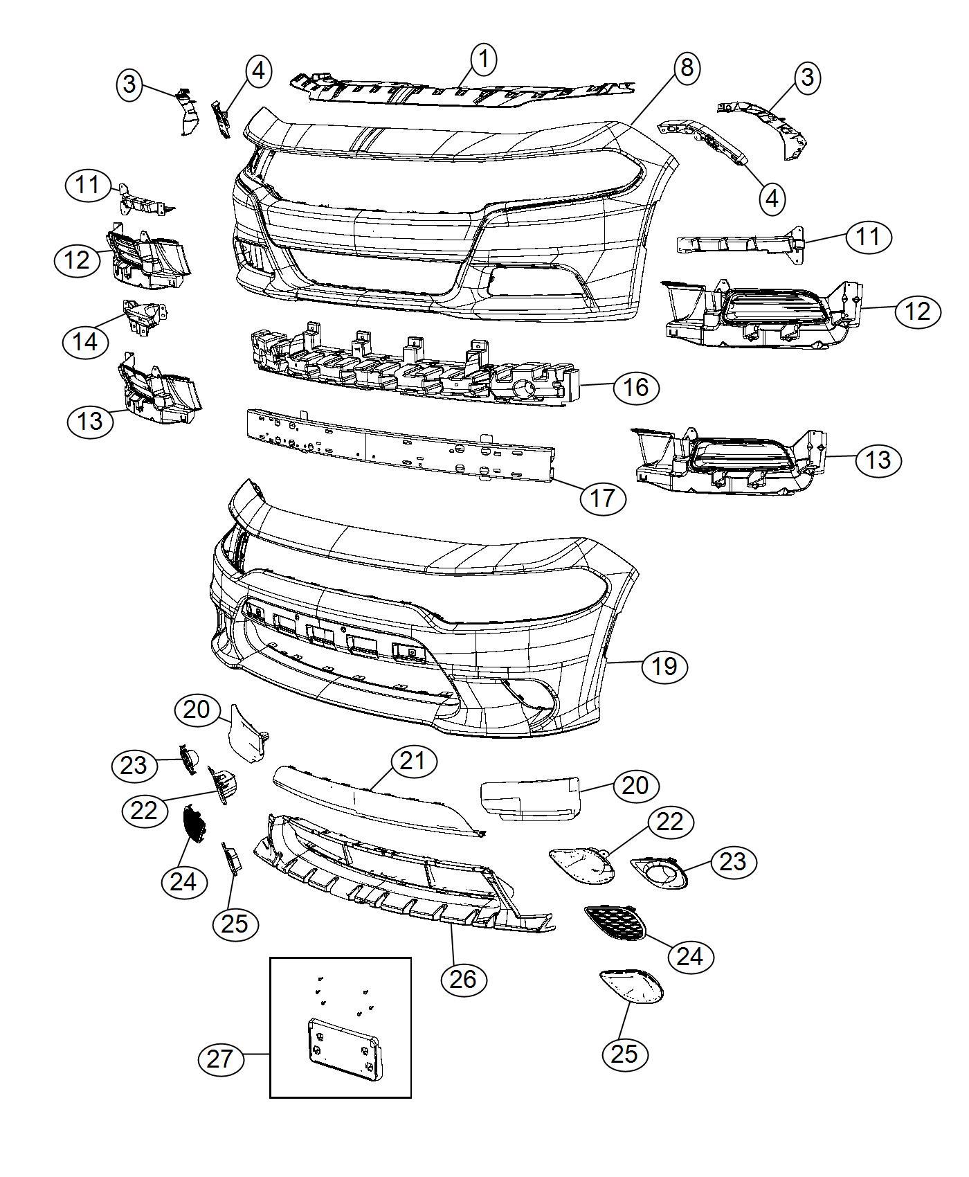 Dodge Charger Fascia Front Primed Applique Module