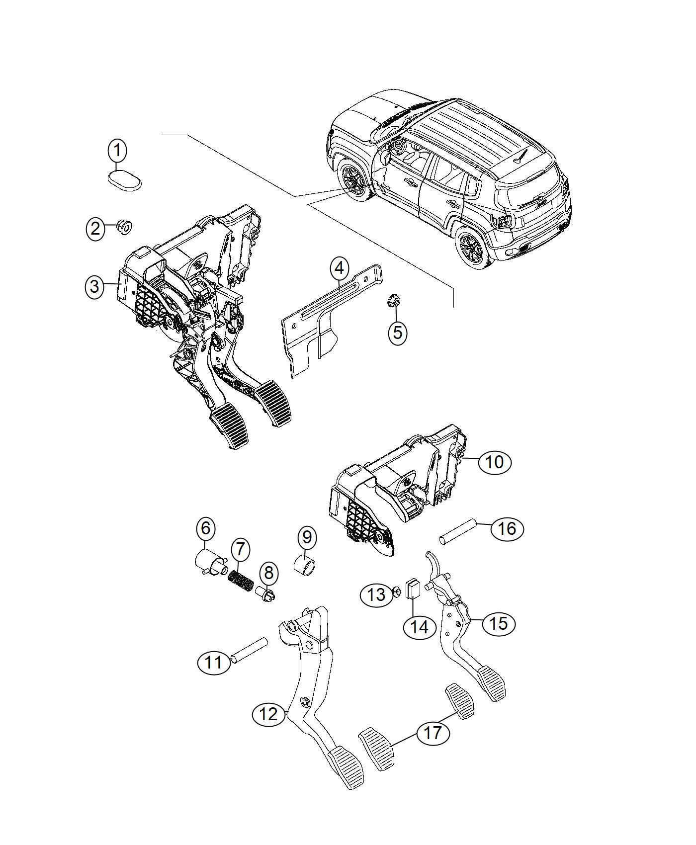 2016 Jeep Renegade Spring. Clutch pedal return. [passive