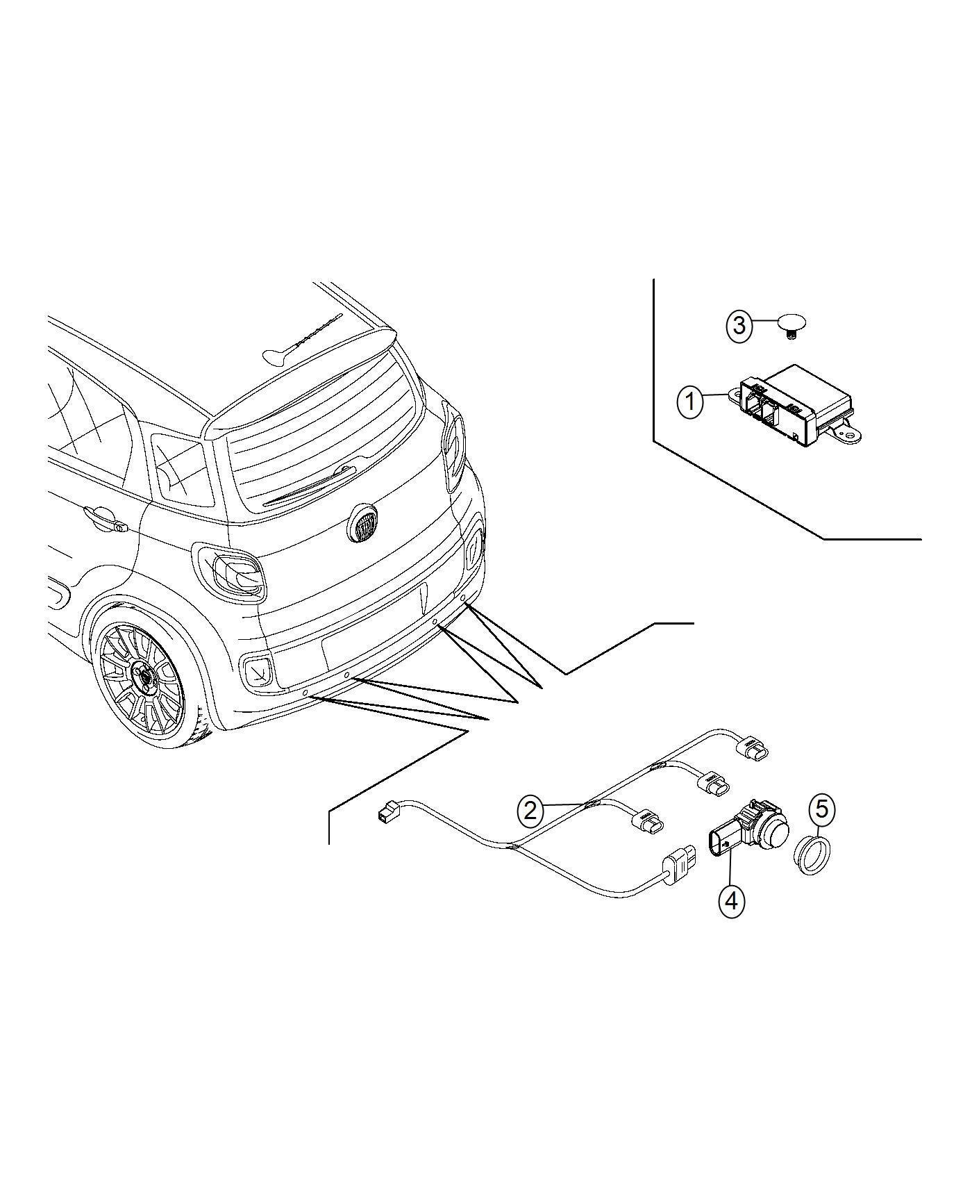 Fiat 500L Module. Parking assist. [parksense rear park