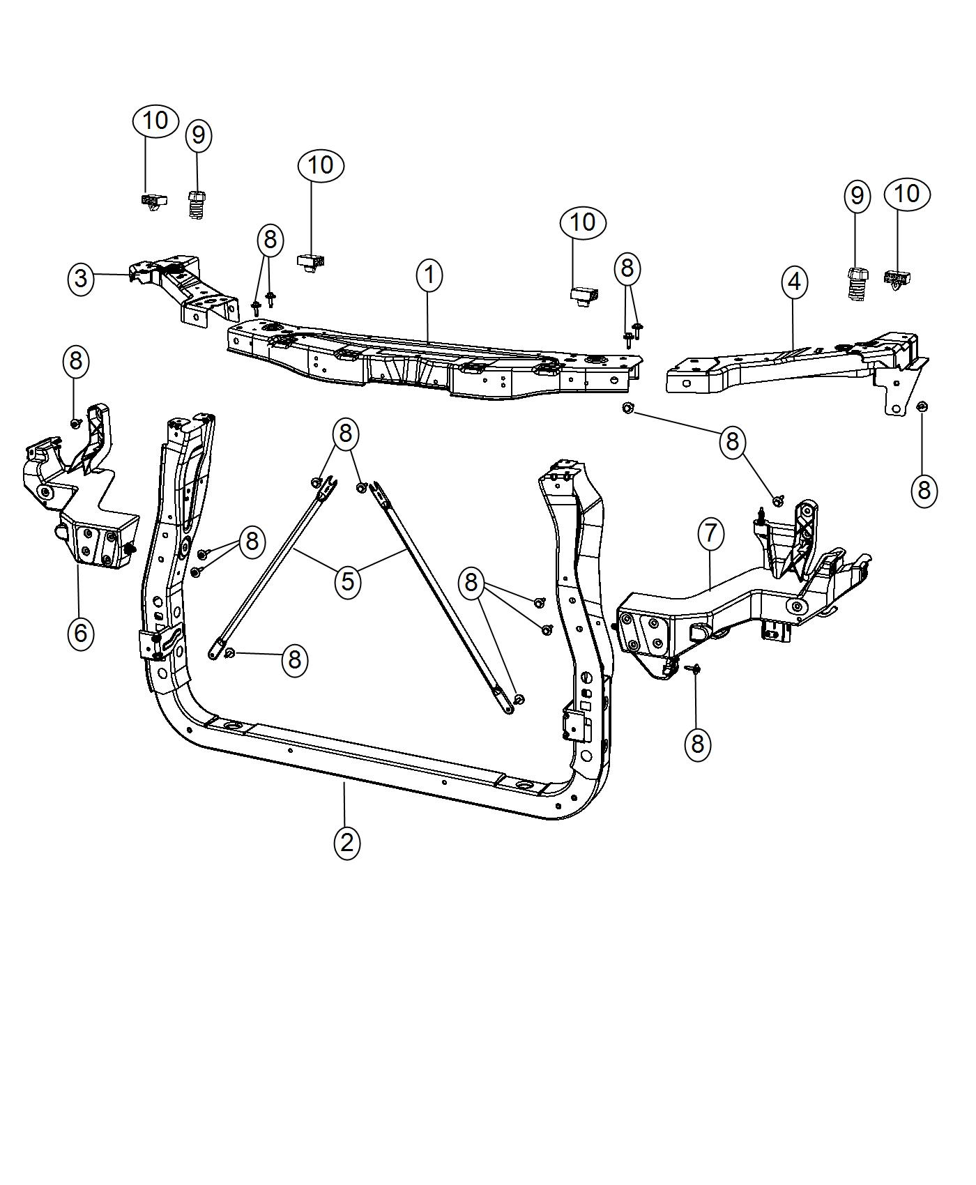 Dodge Durango Bracket. Headlamp mounting. Left. Front, end