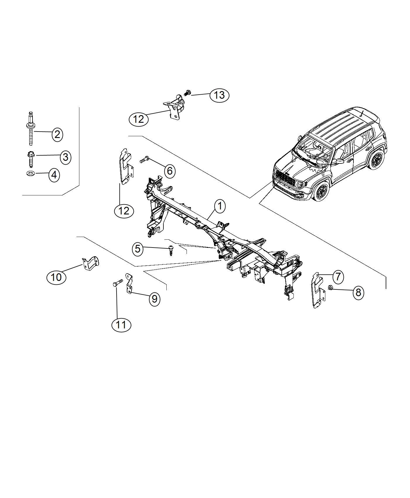 2017 Jeep Renegade Reinforcement. Instrument panel