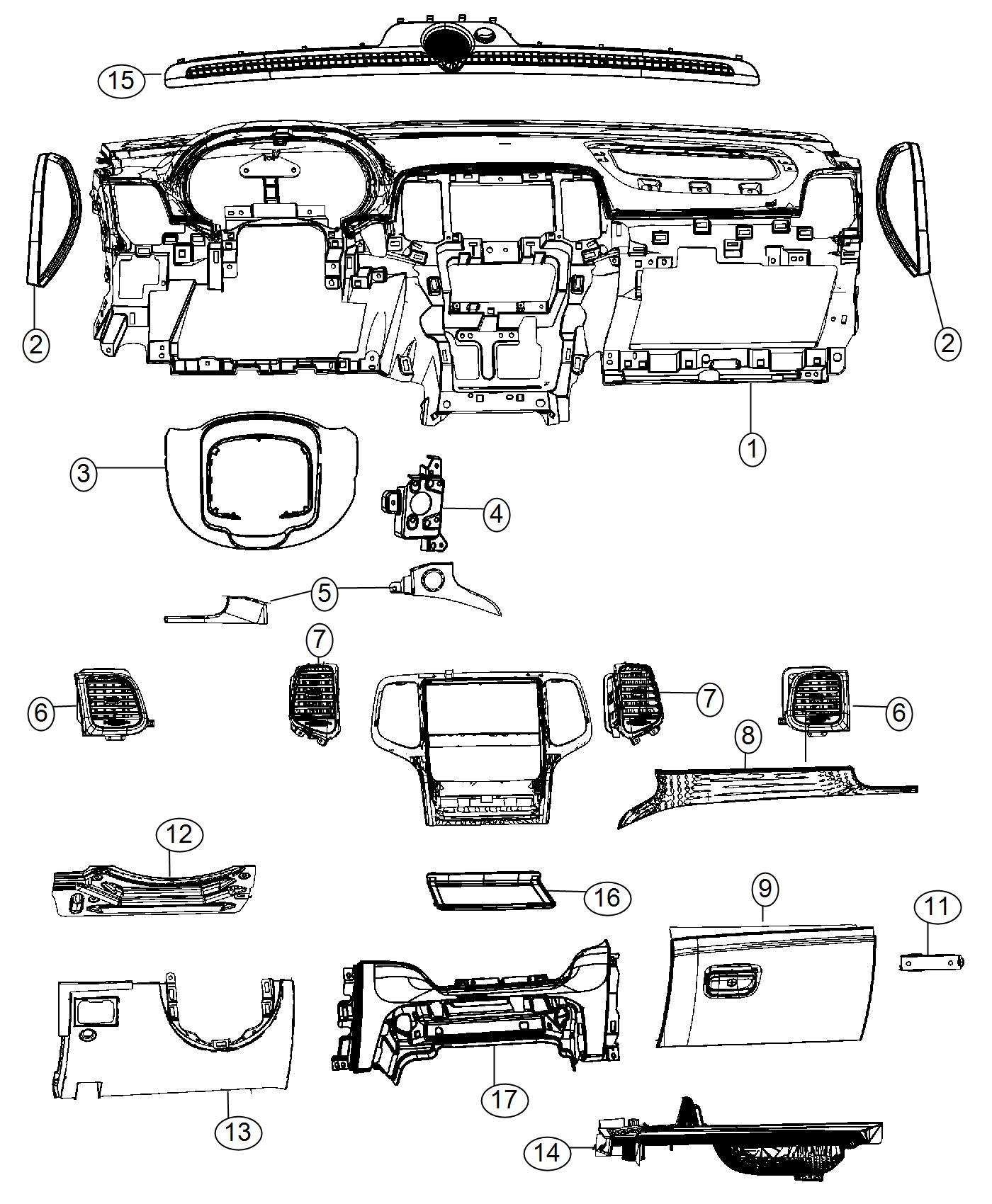 2015 Dodge Durango Bezel. Instrument panel. Lower. [-x5