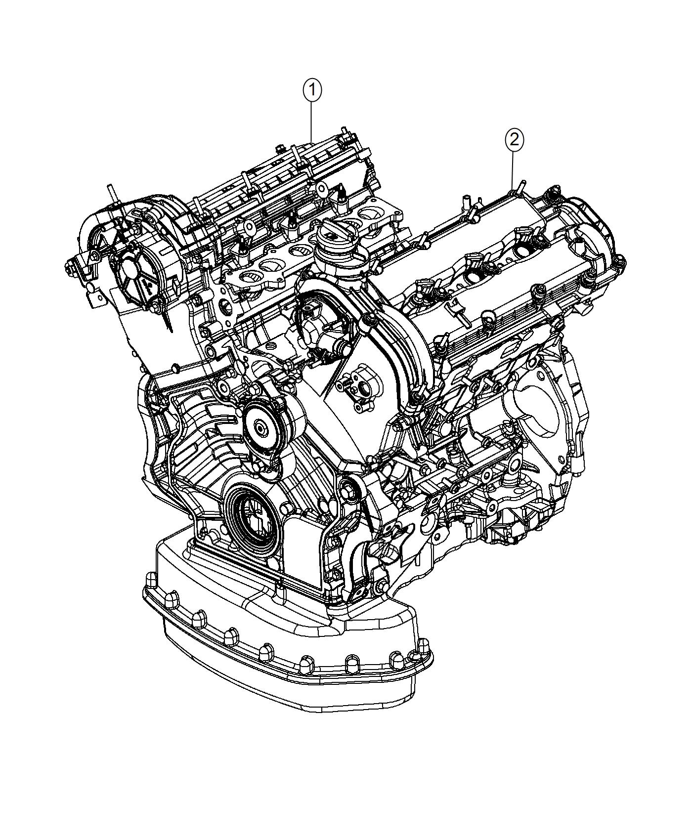 2017 Jeep Grand Cherokee Engine. Long block. Emission