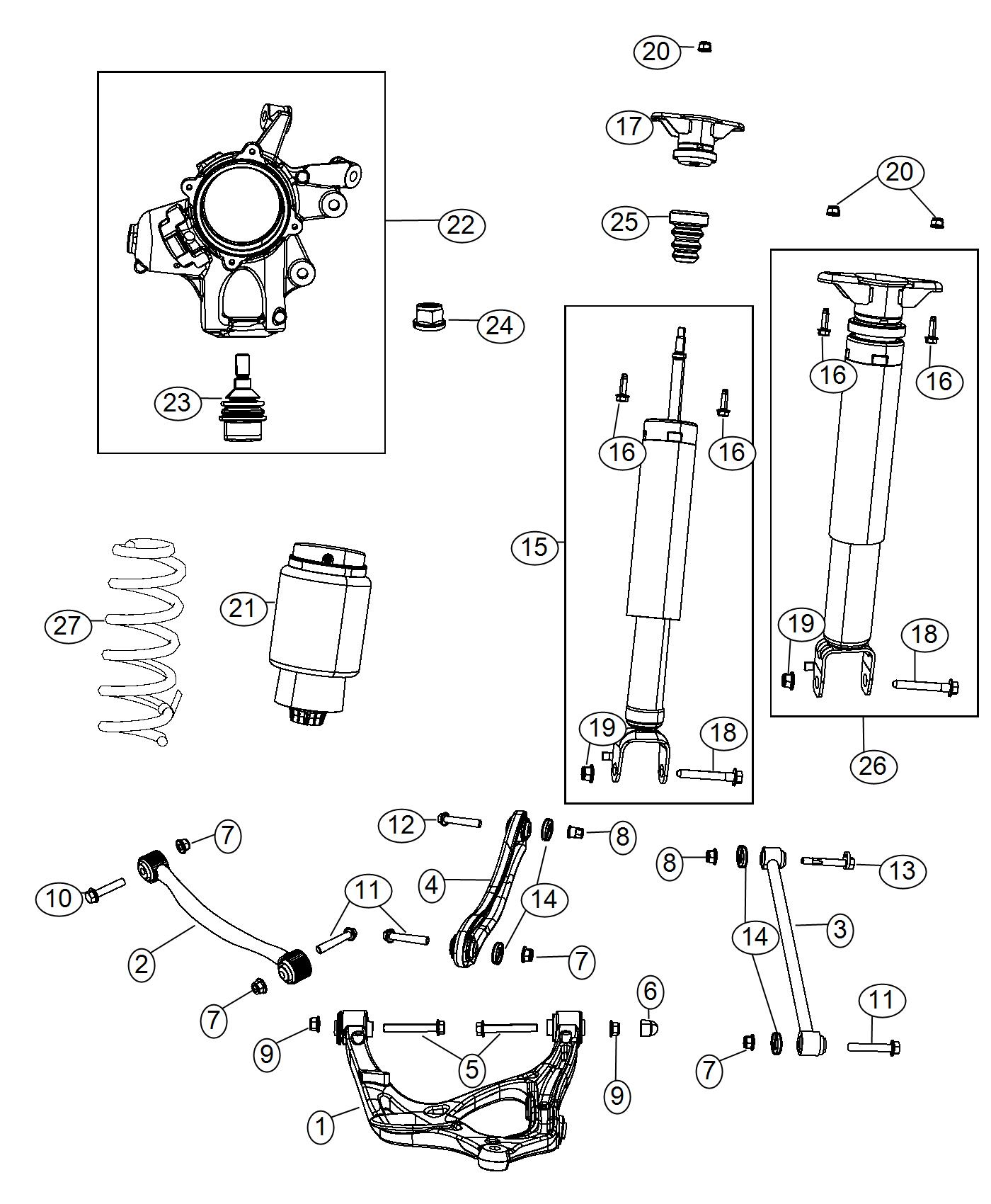 2016 Jeep Grand Cherokee Shock absorber kit. Suspension