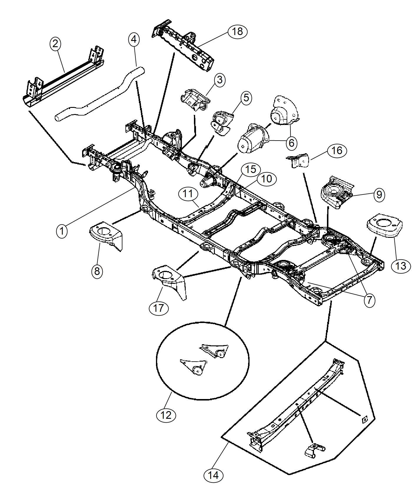 2004 Jeep Wrangler Frame. Chassis. [3.0l v6 24v vvt engine
