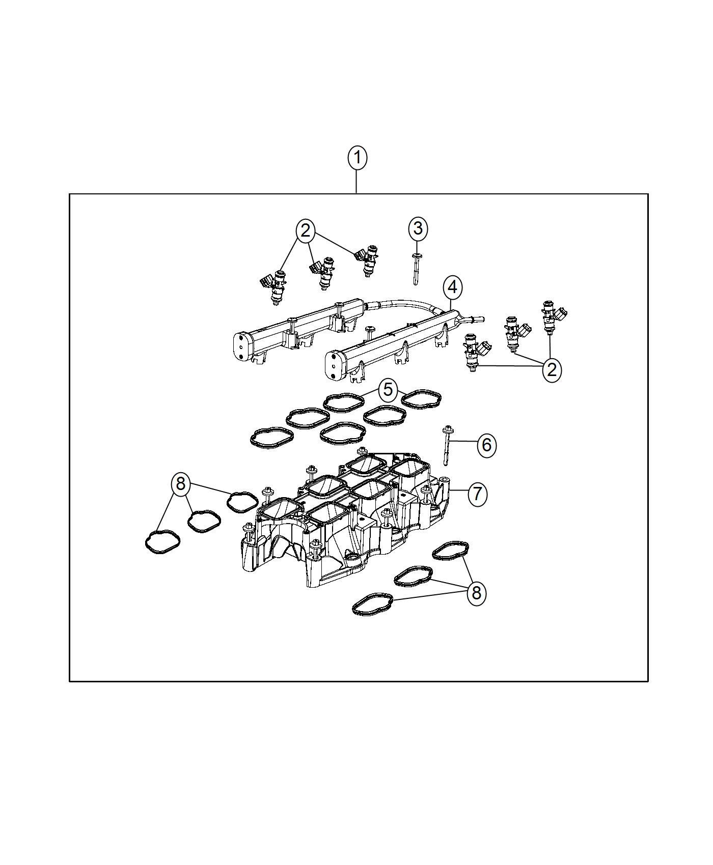 Dodge Durango Gasket. Intake manifold. Intake manifold to