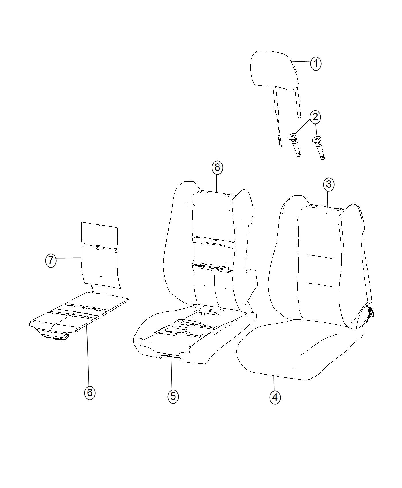 2016 Jeep Grand Cherokee Headrest. Active head restraints