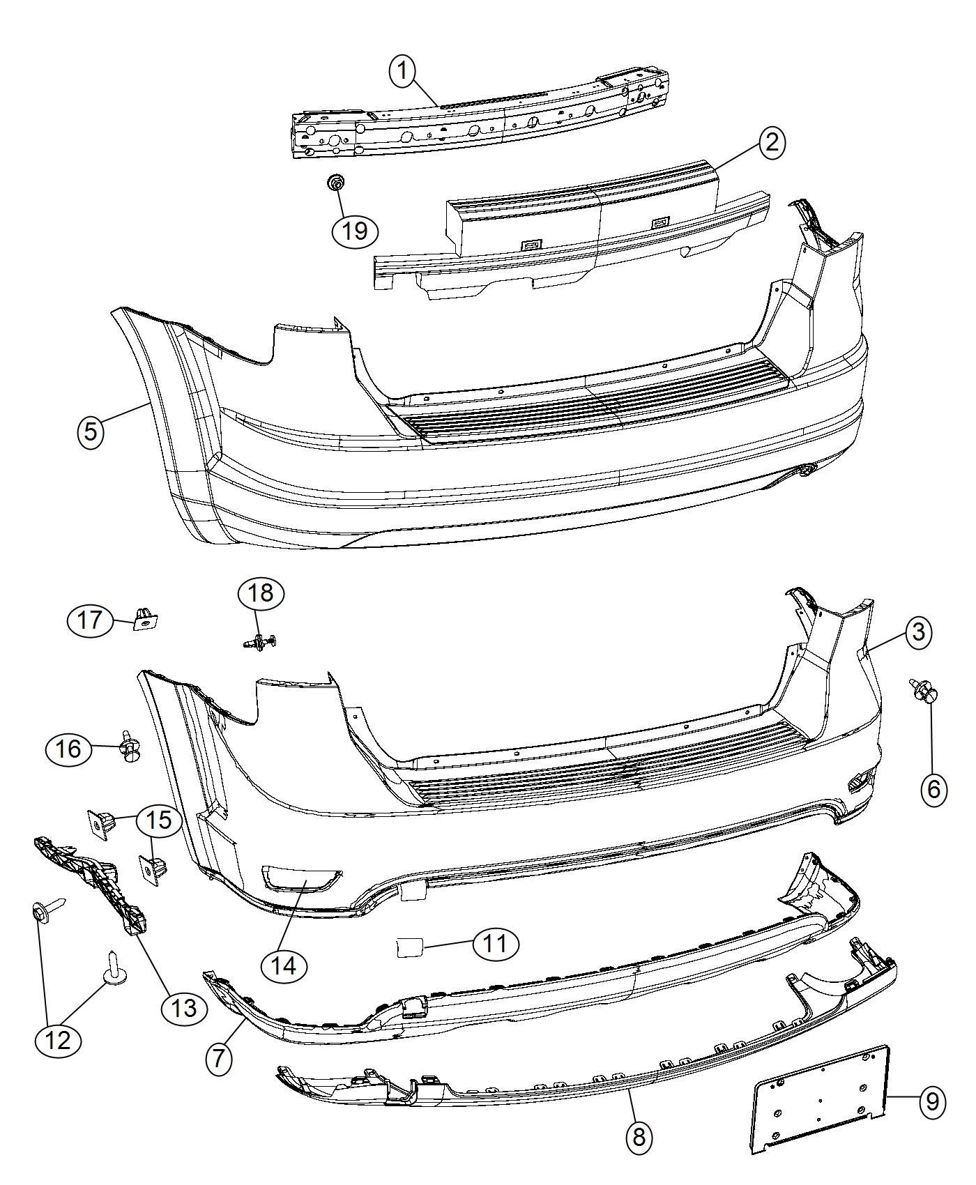 2014 Dodge Journey Applique. Fascia. Rear, fascias, mcd