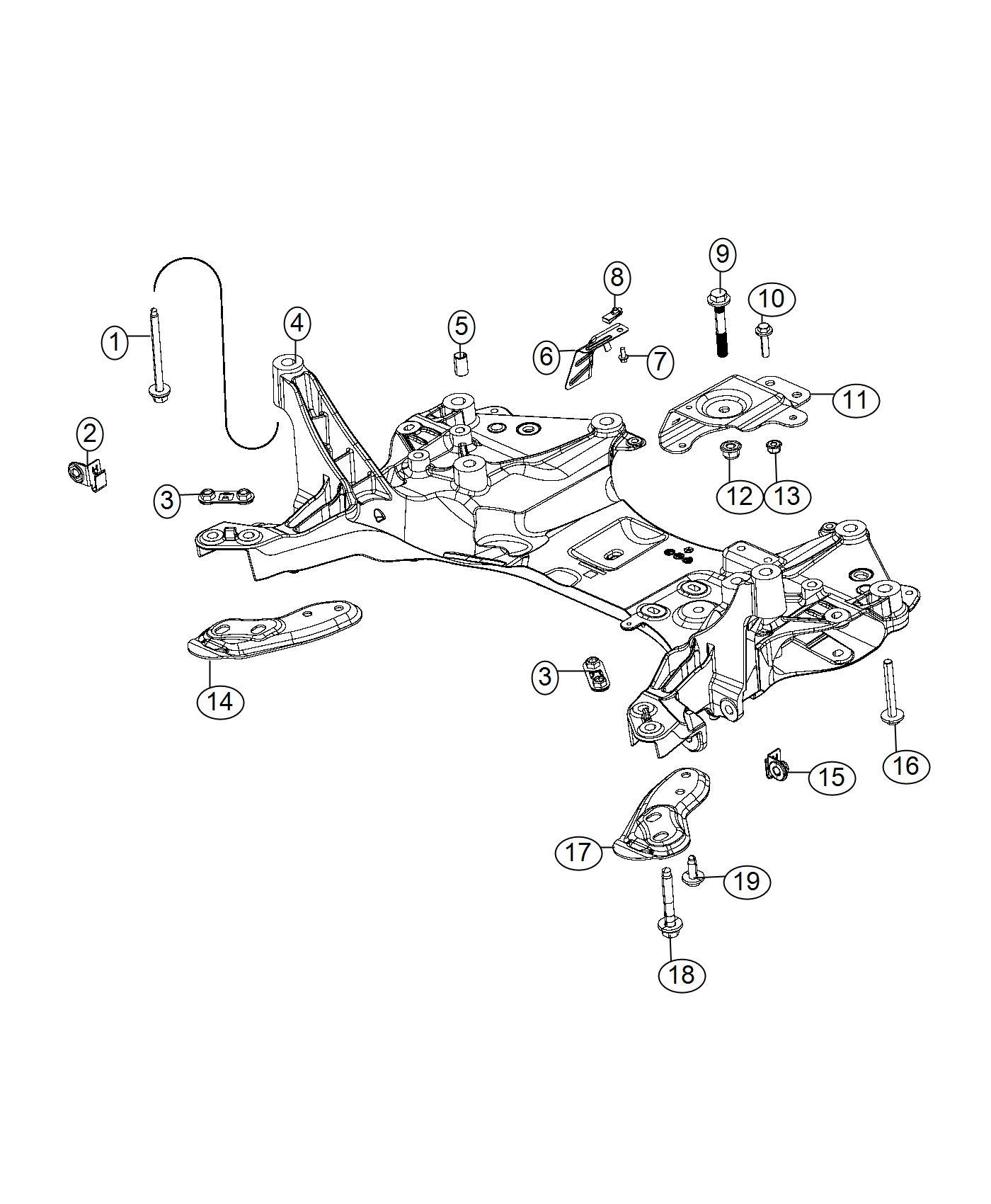 2015 Chrysler 200 Crossmember. Front suspension. Steering