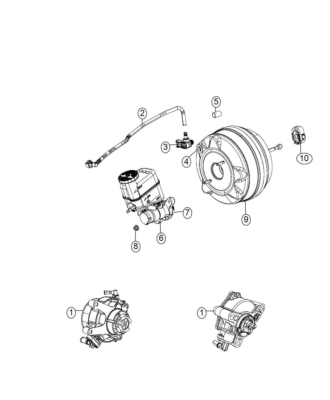 2017 Jeep Cherokee Hose. Brake booster vacuum. Maintenance