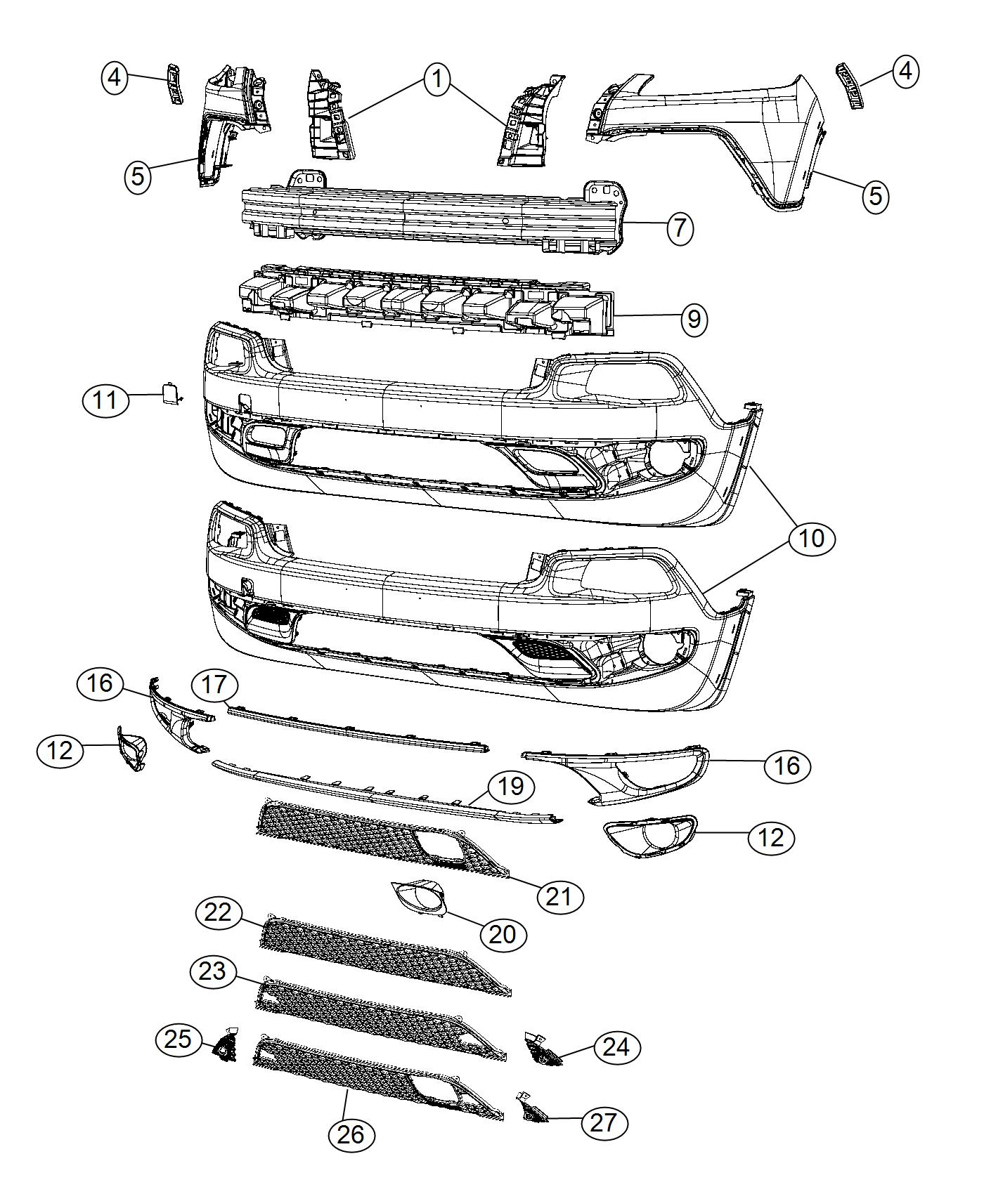 2015 Jeep Cherokee Fascia. Front lower. [x8w], [xew], [mmz