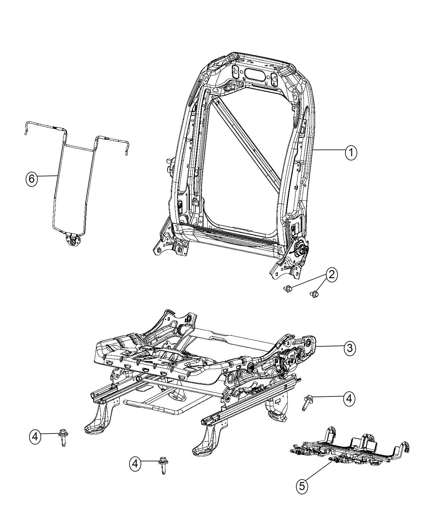 Chrysler Pacifica Frame. Front seat back. Left. [seat
