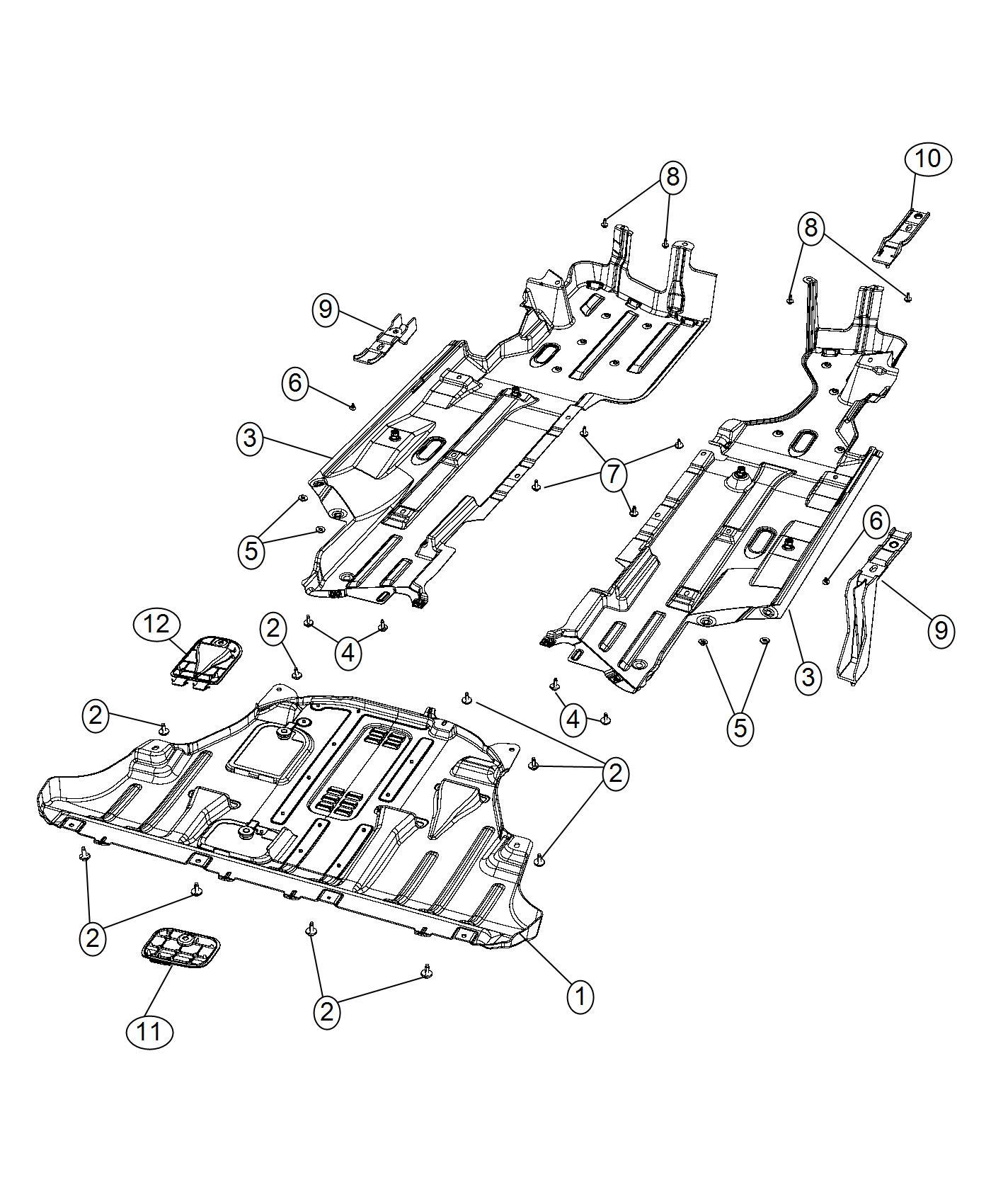 2016 Jeep Cherokee Shield. Left. Floor pan. [ed6] [ehb