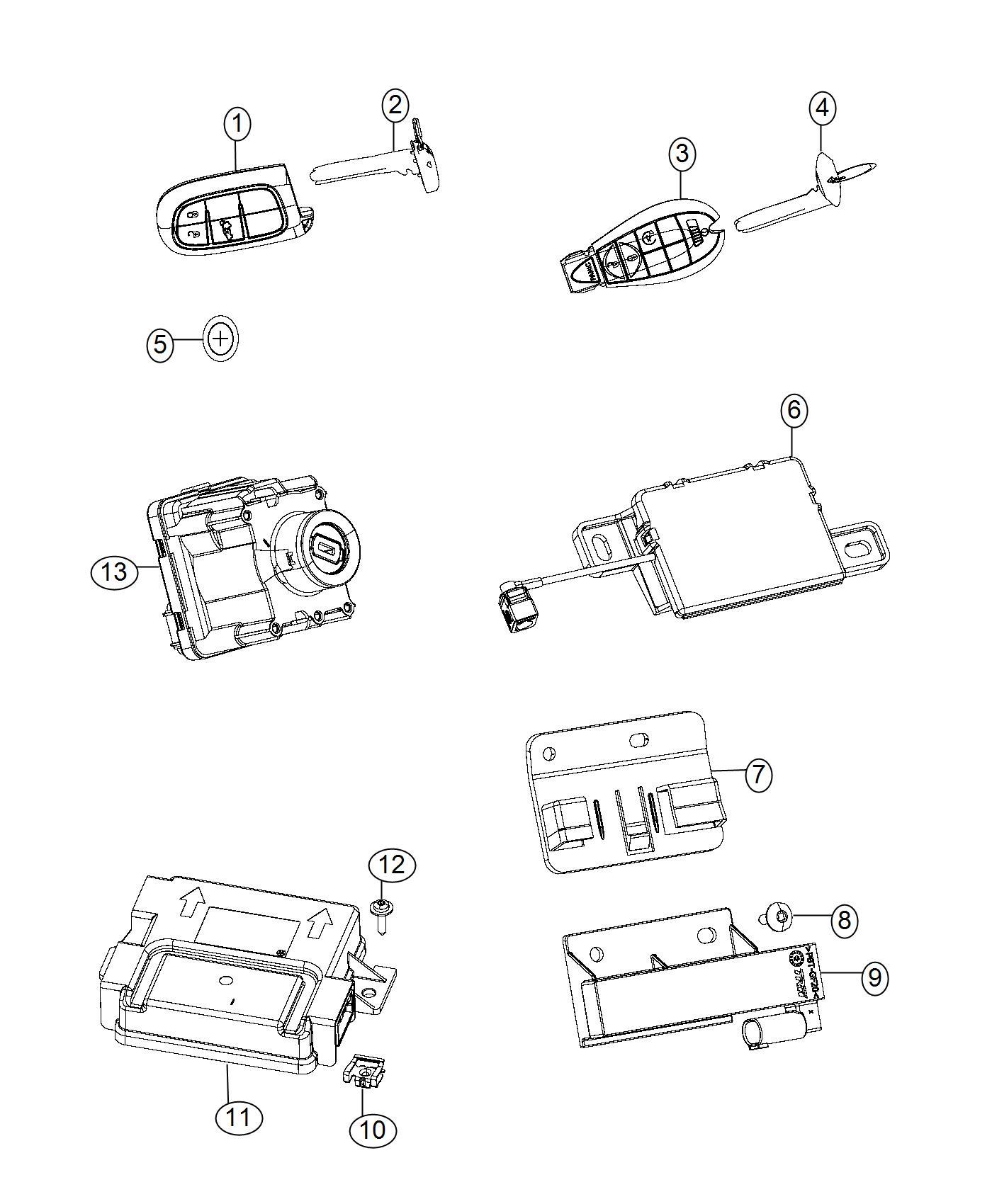 Jeep Cherokee Transmitter Integrated Key Fob Export