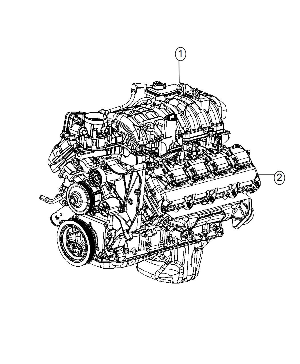 2017 Ram 1500 Engine. Long block. [engine oil cooler