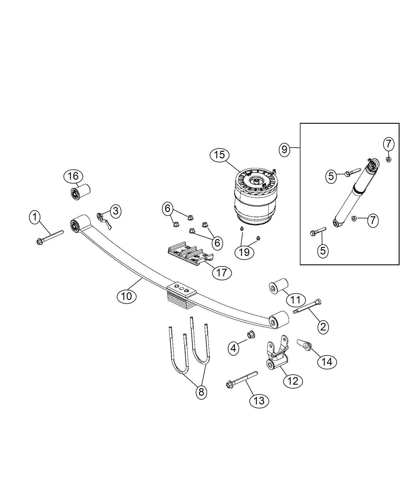 2017 Ram 3500 Spring assembly. Air suspension. Rear. [rear