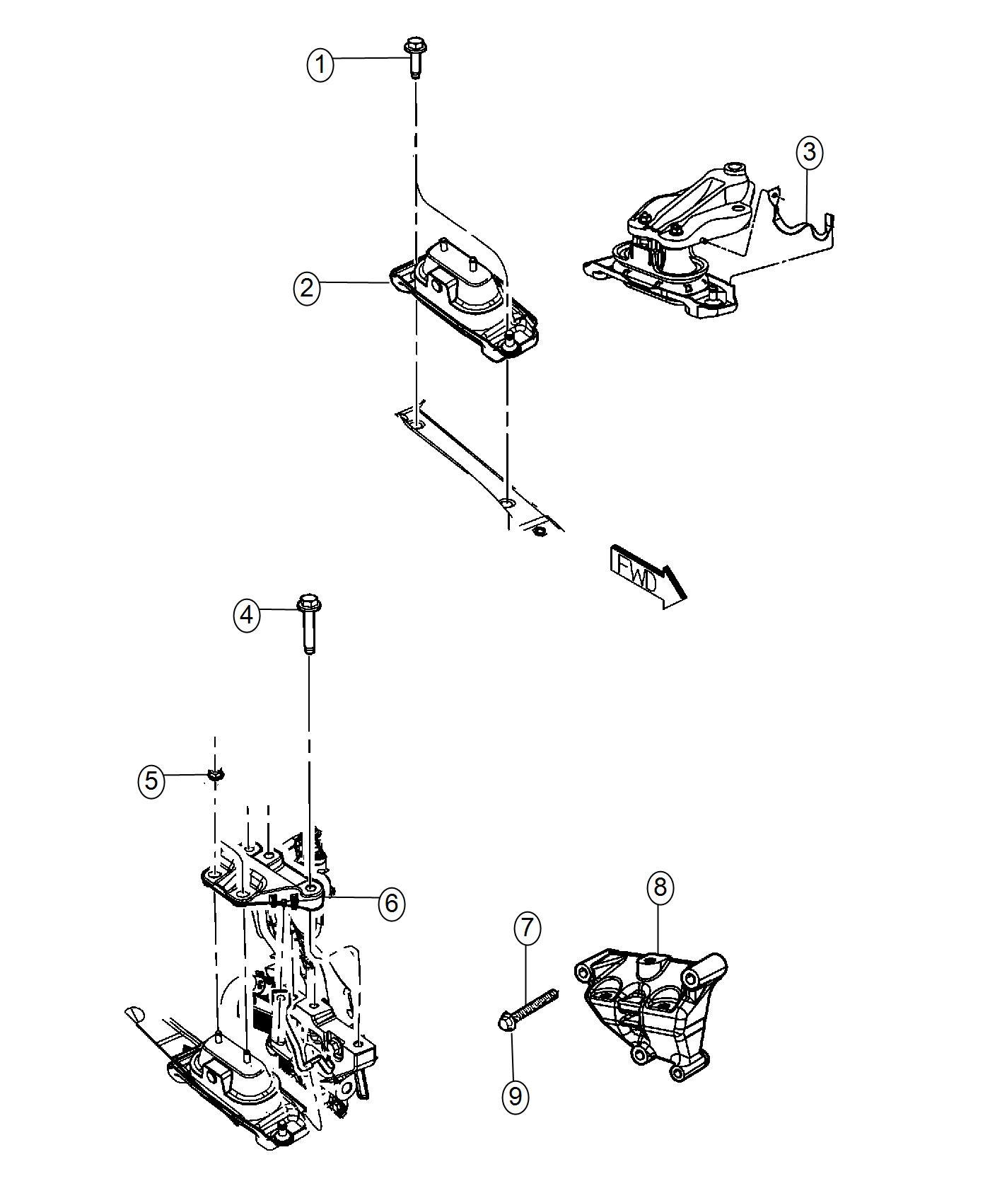 2017 Dodge Grand Caravan Engine mount. Right. Fwd