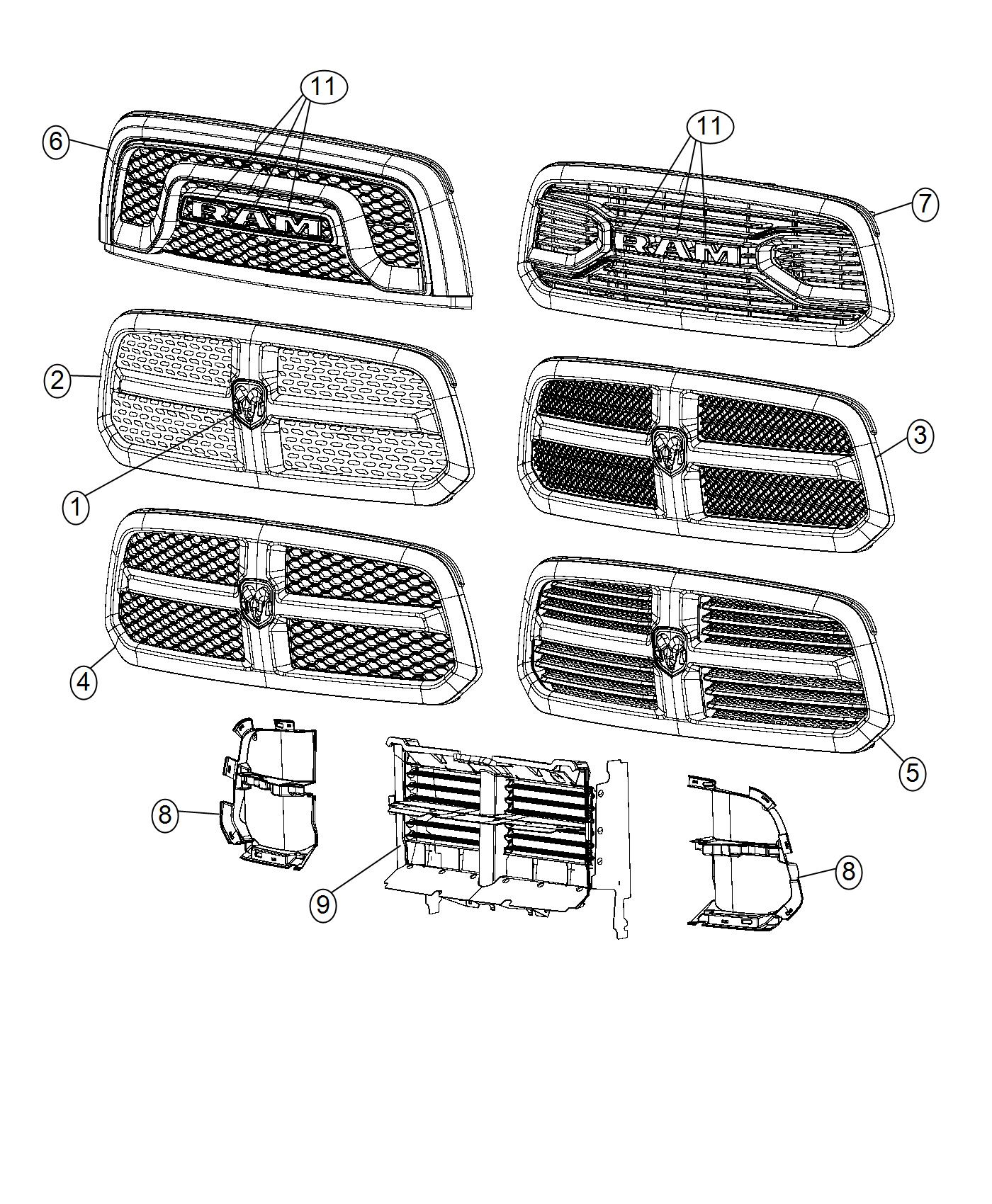 Ram Grille Radiator Includes Close Out Panels