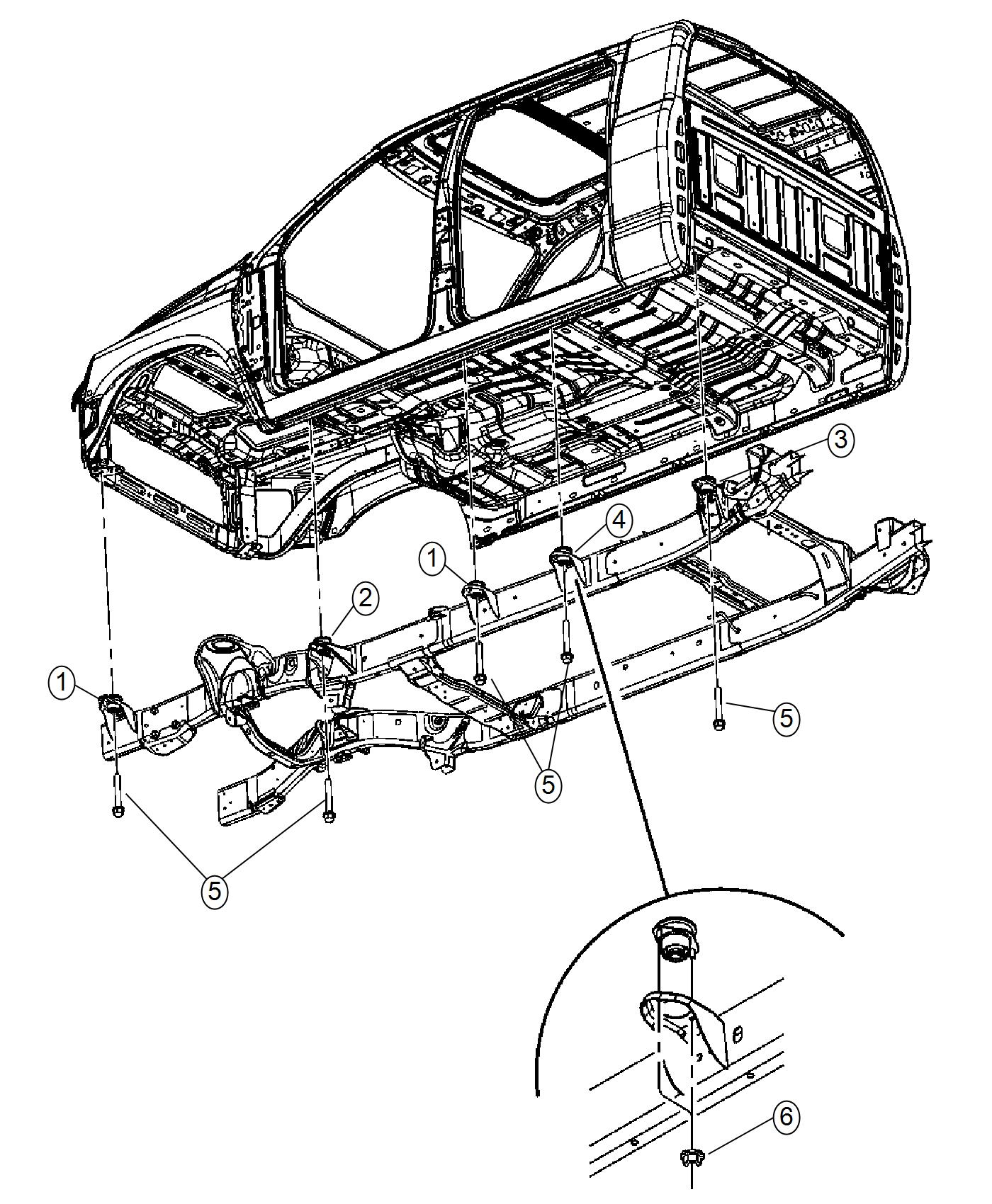 Ram Cushion Body Hold Down Lower Cab