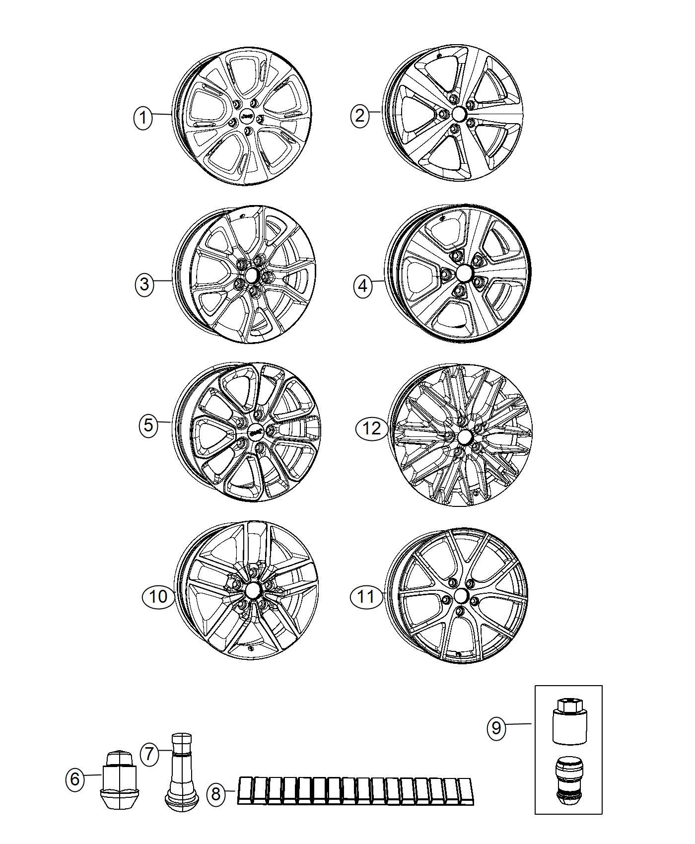 2016 Jeep Grand Cherokee Wheel. Front or rear. Aluminum