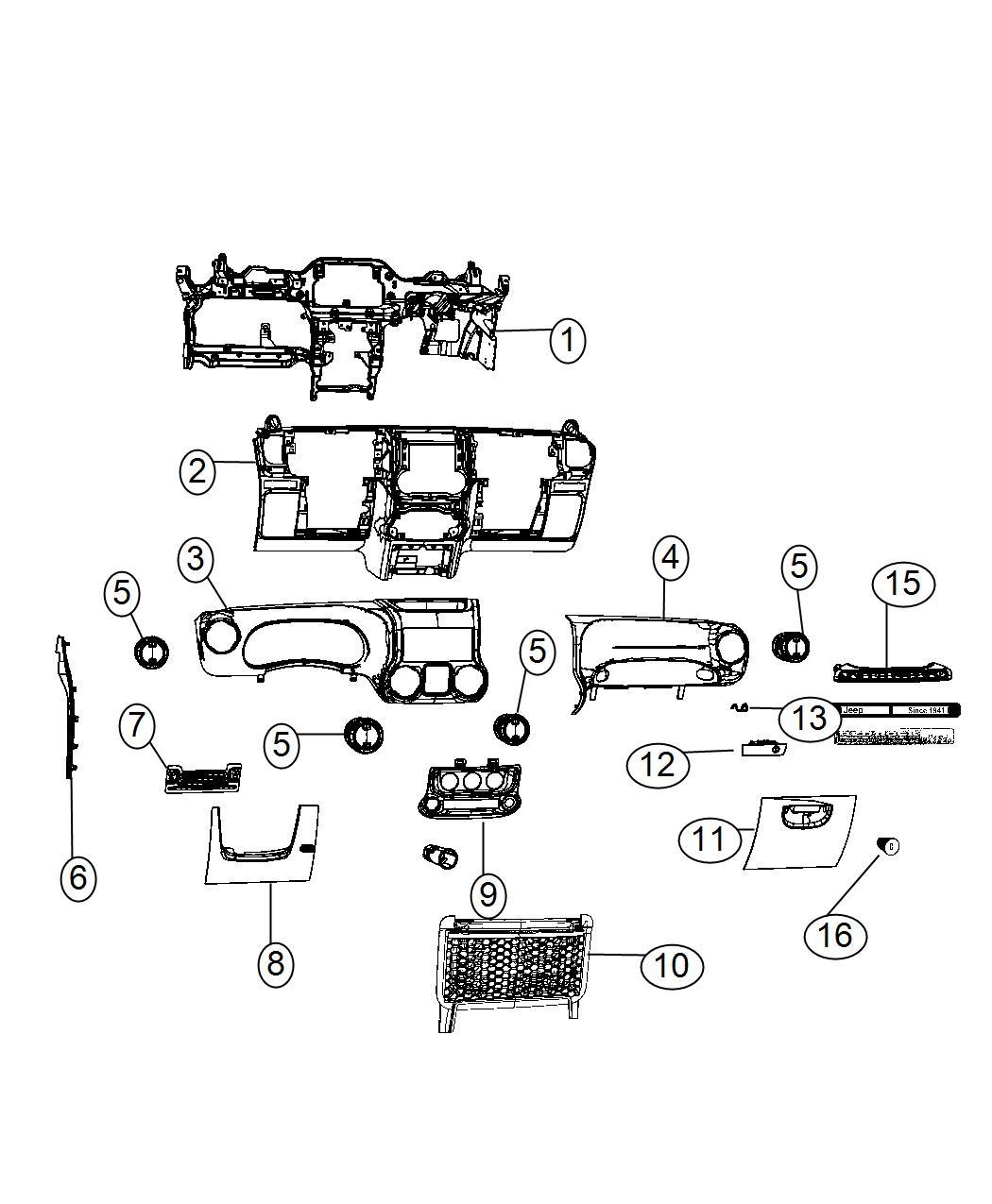 Jeep Wrangler Applique. Instrument panel. Trim: [no