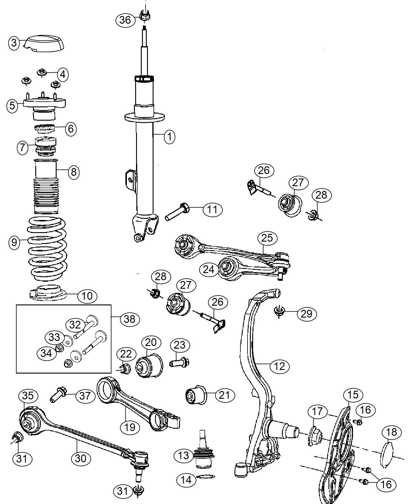 Chrysler 300 Strut. Tension. Left. Suspension, front