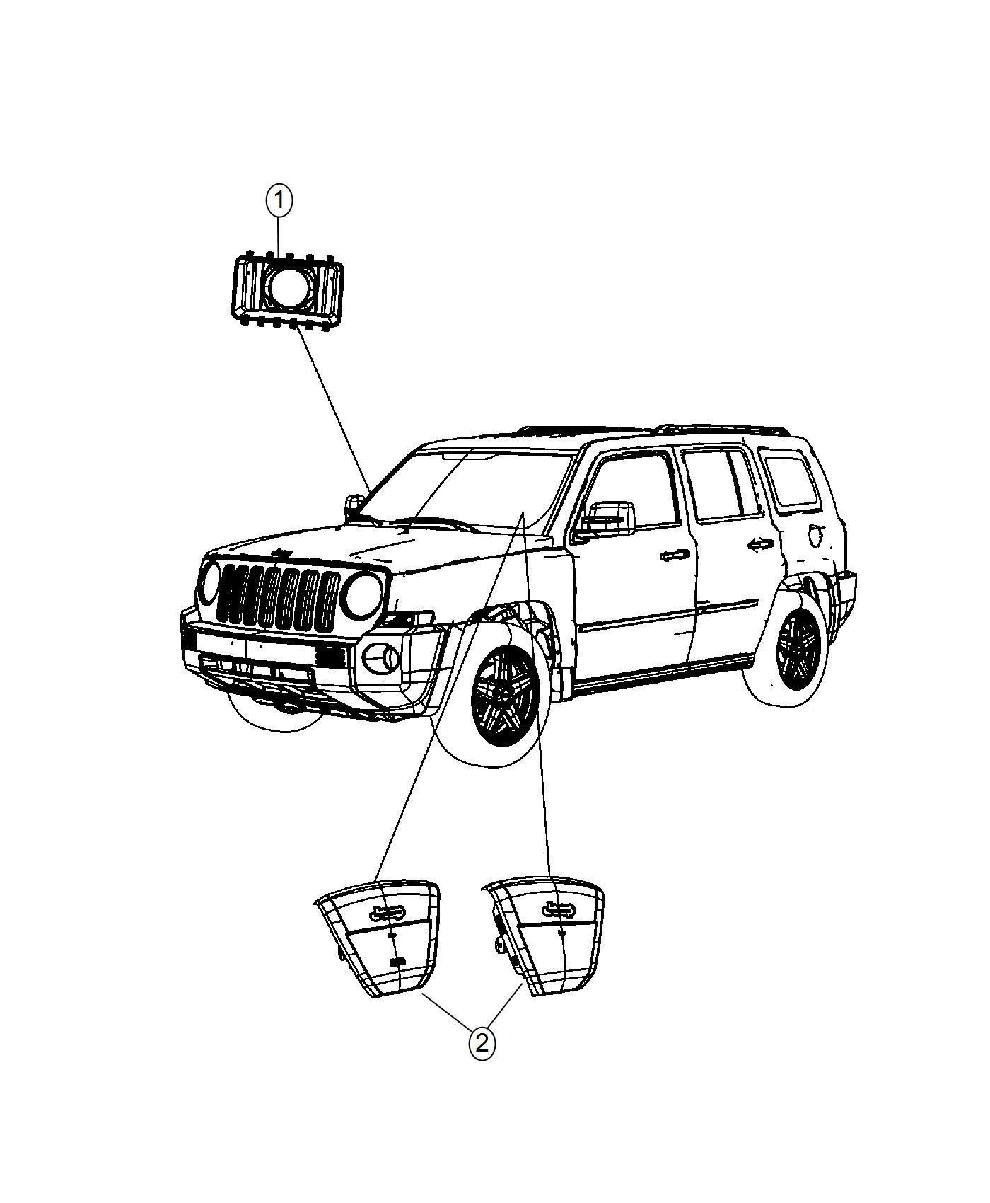 Jeep Patriot Air bag. Passenger. [instrument panel parts