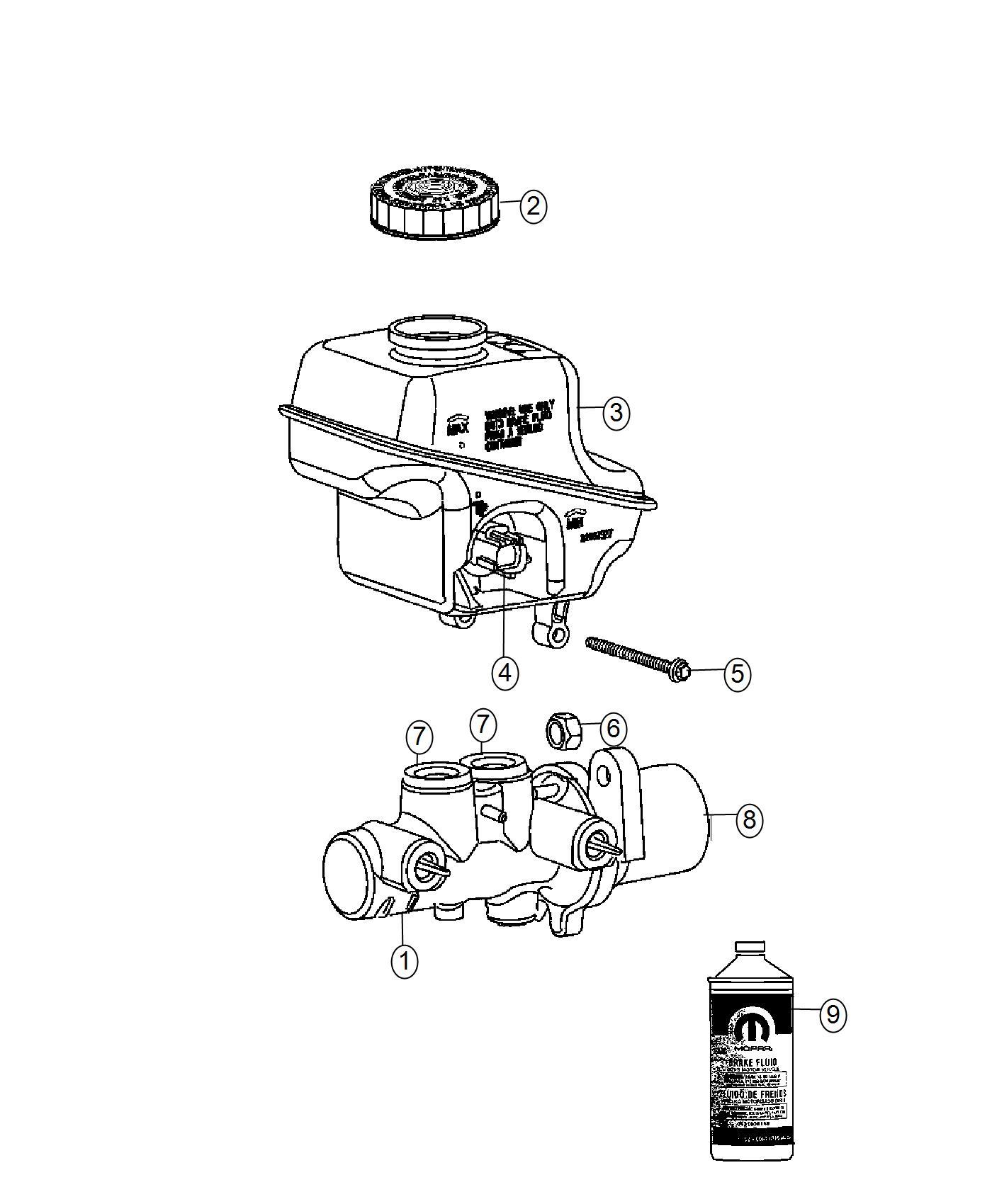 2017 Dodge Challenger Master cylinder. Brake. Disc, wheel