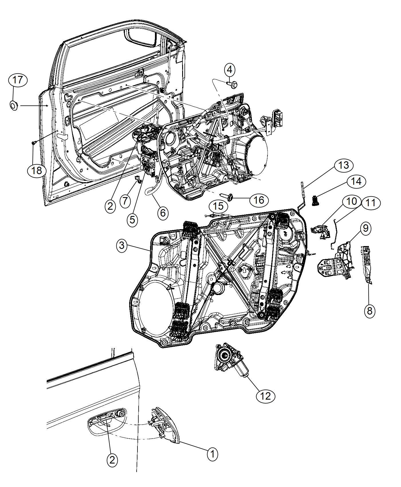 2012 Chrysler 300 Retainer. Left. Cable. Door, components