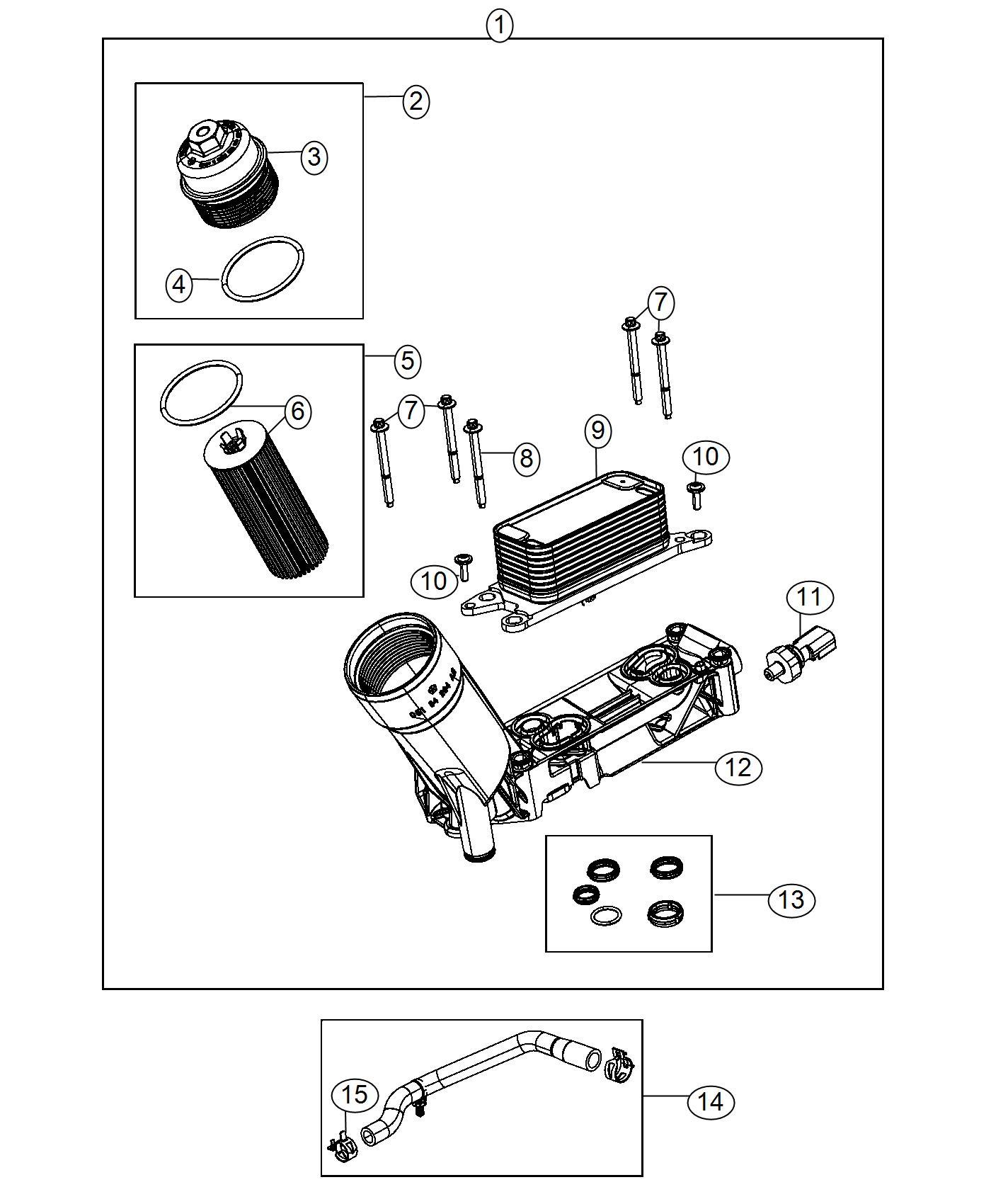 Chrysler 300 Hose Oil Cooler Outlet Includes Clamps Engine Adapter Filter