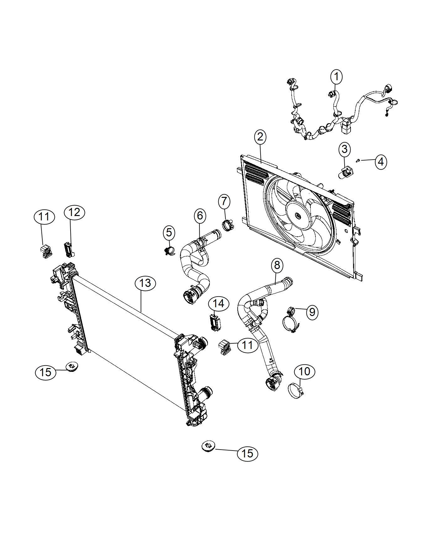 2017 Fiat 500X Hose. Radiator inlet. Export. Maintenance