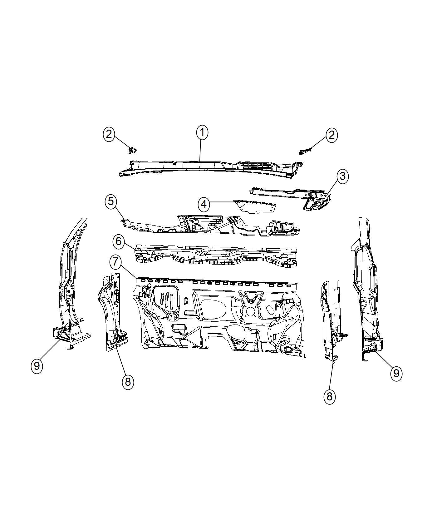 Fiat 500x Shield Engine Side Export Panel Dash Cowl