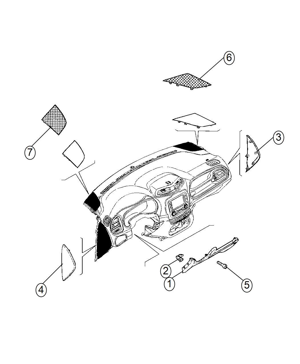 Jeep Renegade Grille Speaker Export Left Trim