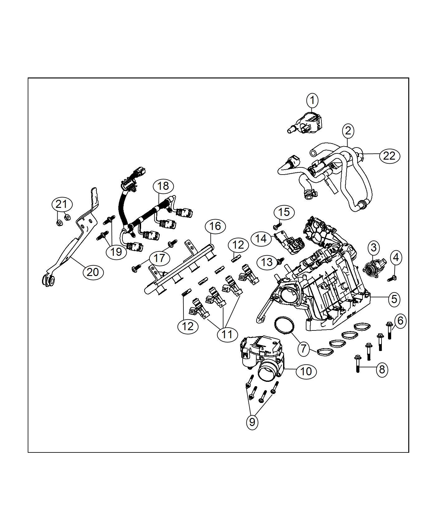 2017 Jeep Renegade Gasket kit. Intake manifold. Export. [6
