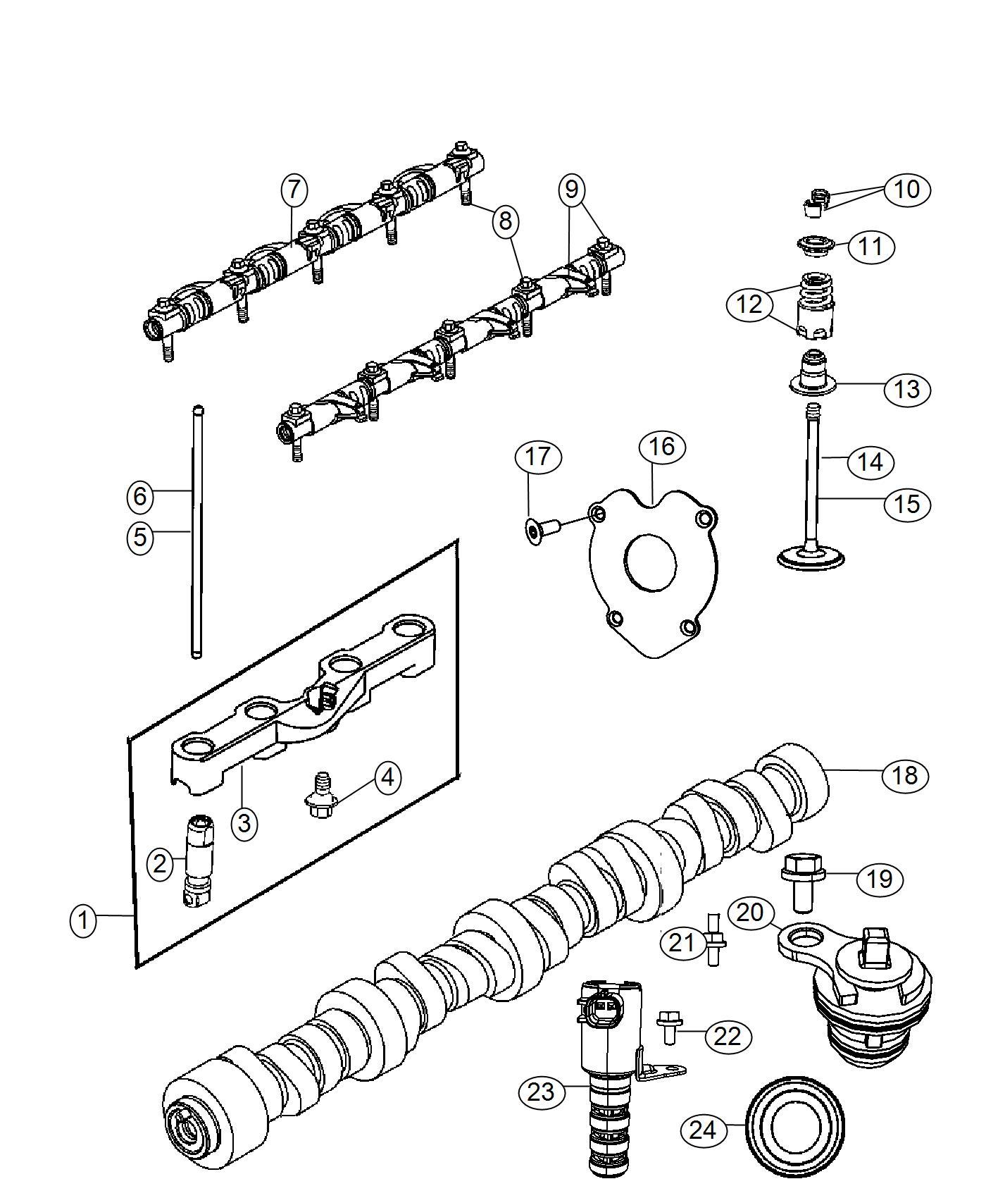 Ram 2500 Camshaft. Engine. Valvetrain, hemi, mds
