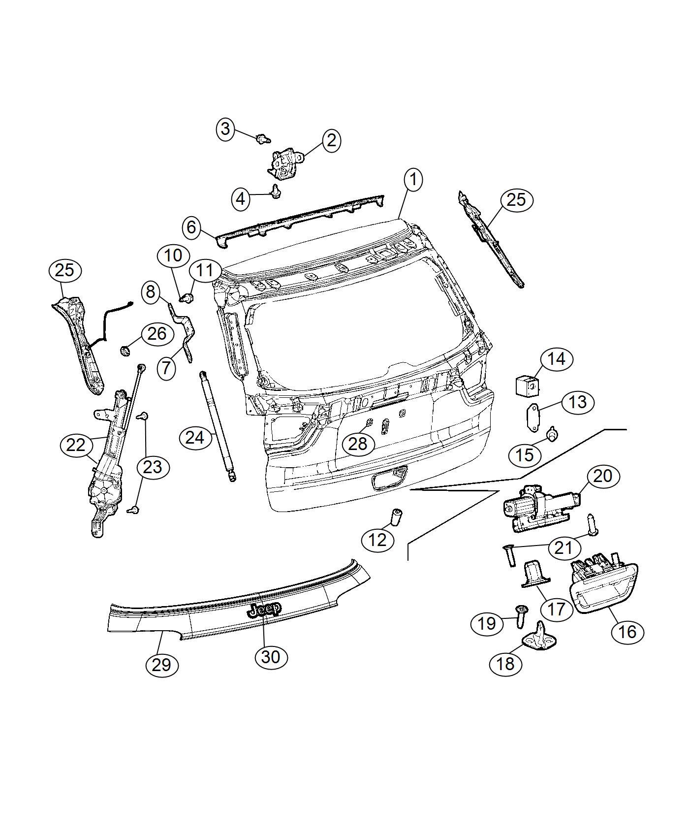 Jeep Renegade Handle Liftgate Diamond Black Crystal P C