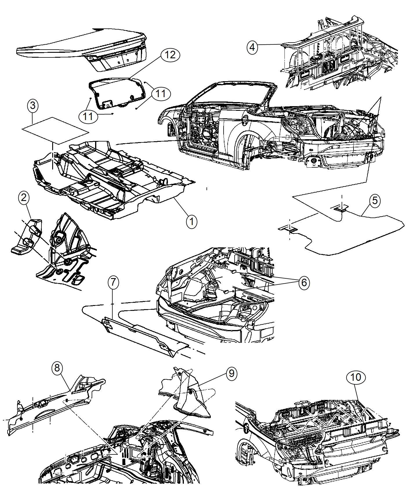 Chrysler 200 Support Footrest Body Carpet Mats