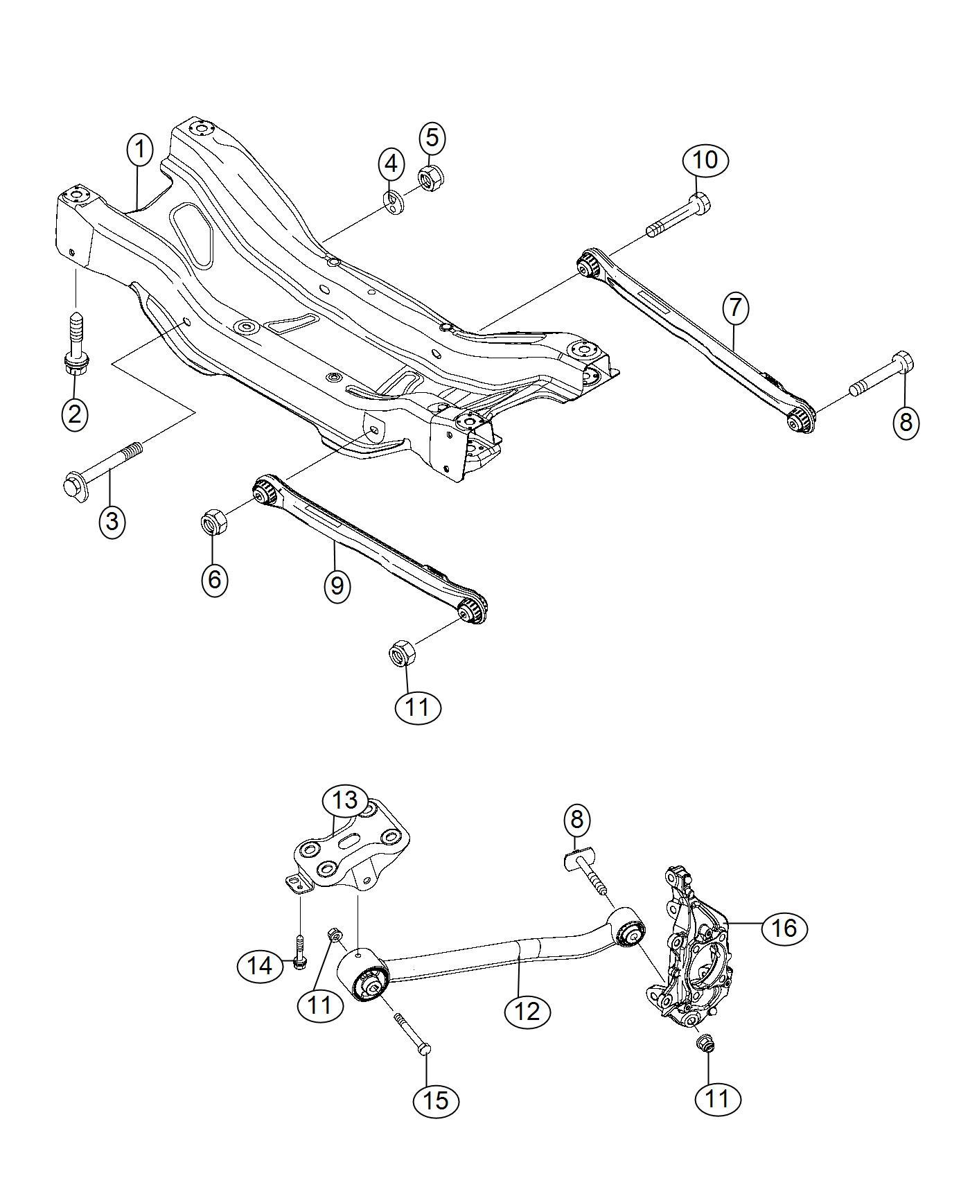 2017 Jeep Renegade Guide rod. Suspension. Rear