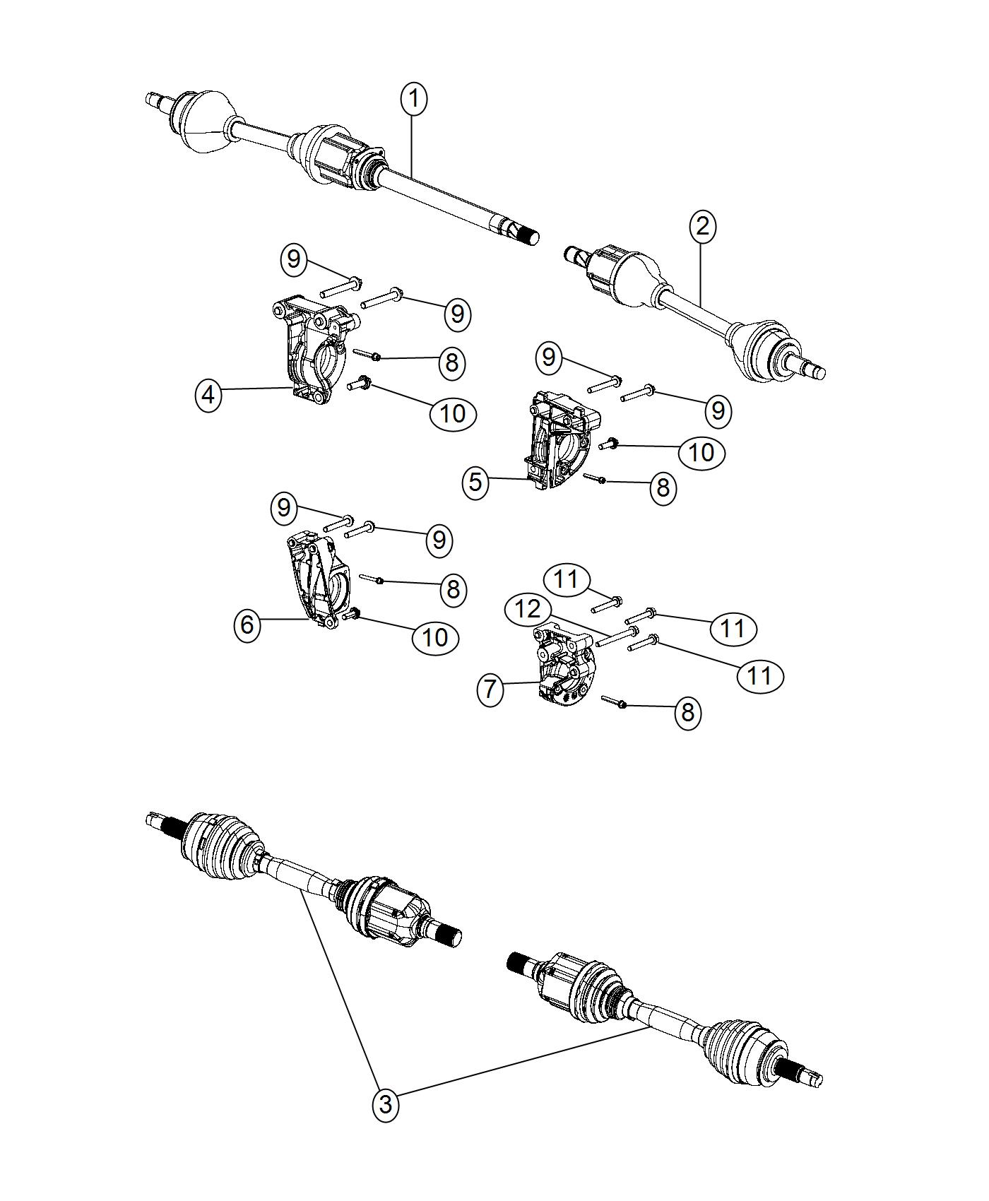 Jeep Renegade Support. Axle shaft. [6-speed c635 manual