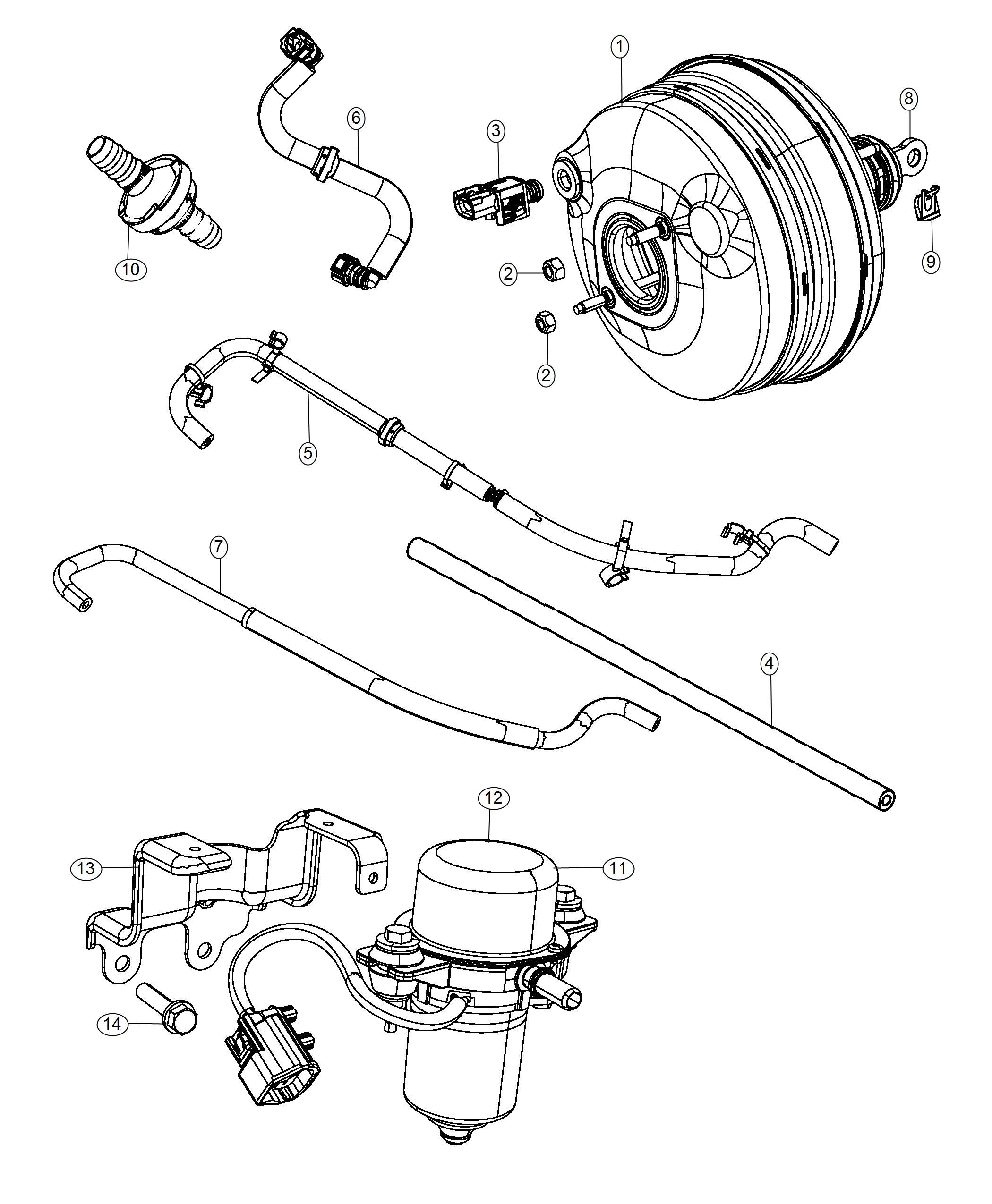 Dodge Charger Hose. Brake booster vacuum. Booster to front