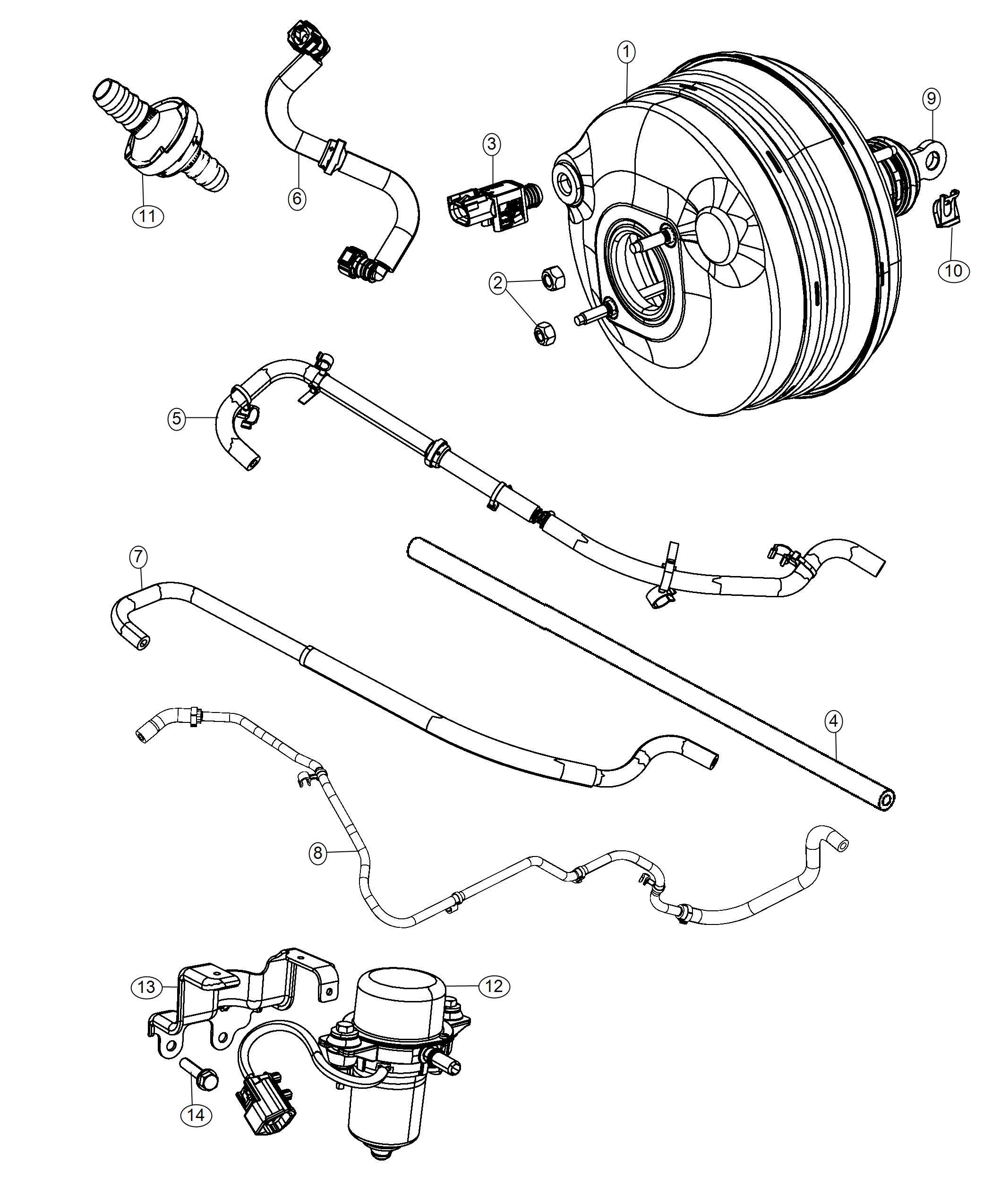 Chrysler 300 Hose Brake Booster Vacuum Left