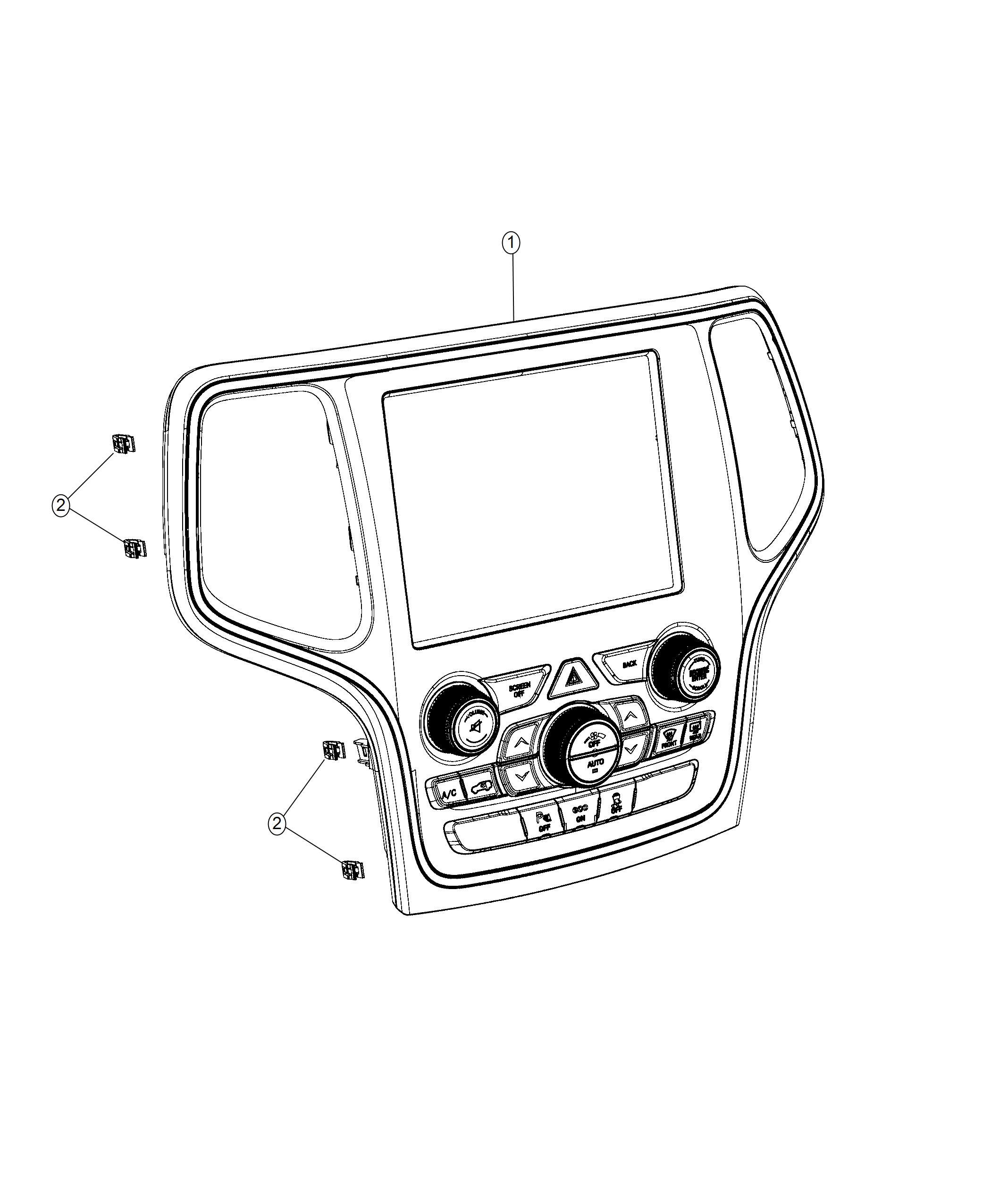Jeep Grand Cherokee Center Stack Vehicle Feature Controls