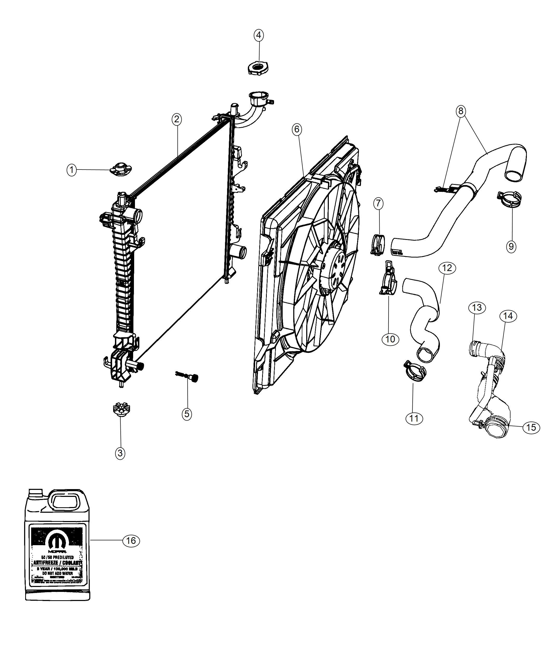 2018 Dodge Durango Hose. Radiator outlet. Engine, oil