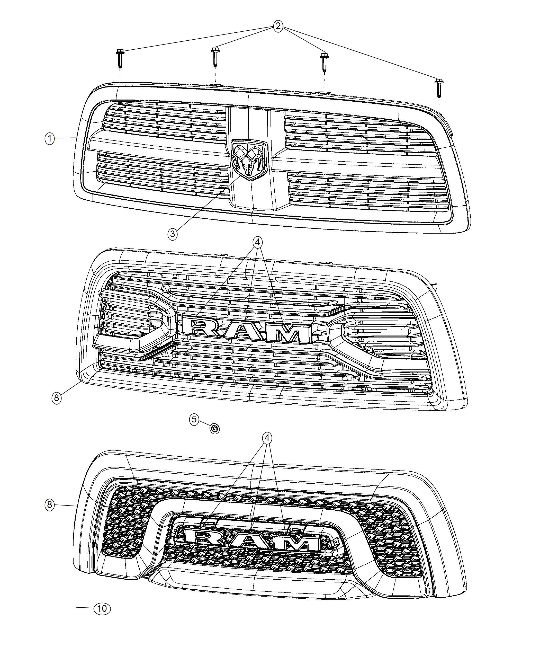 Ram Grille Radiator Front End Parts Module Black Bright Grille Color